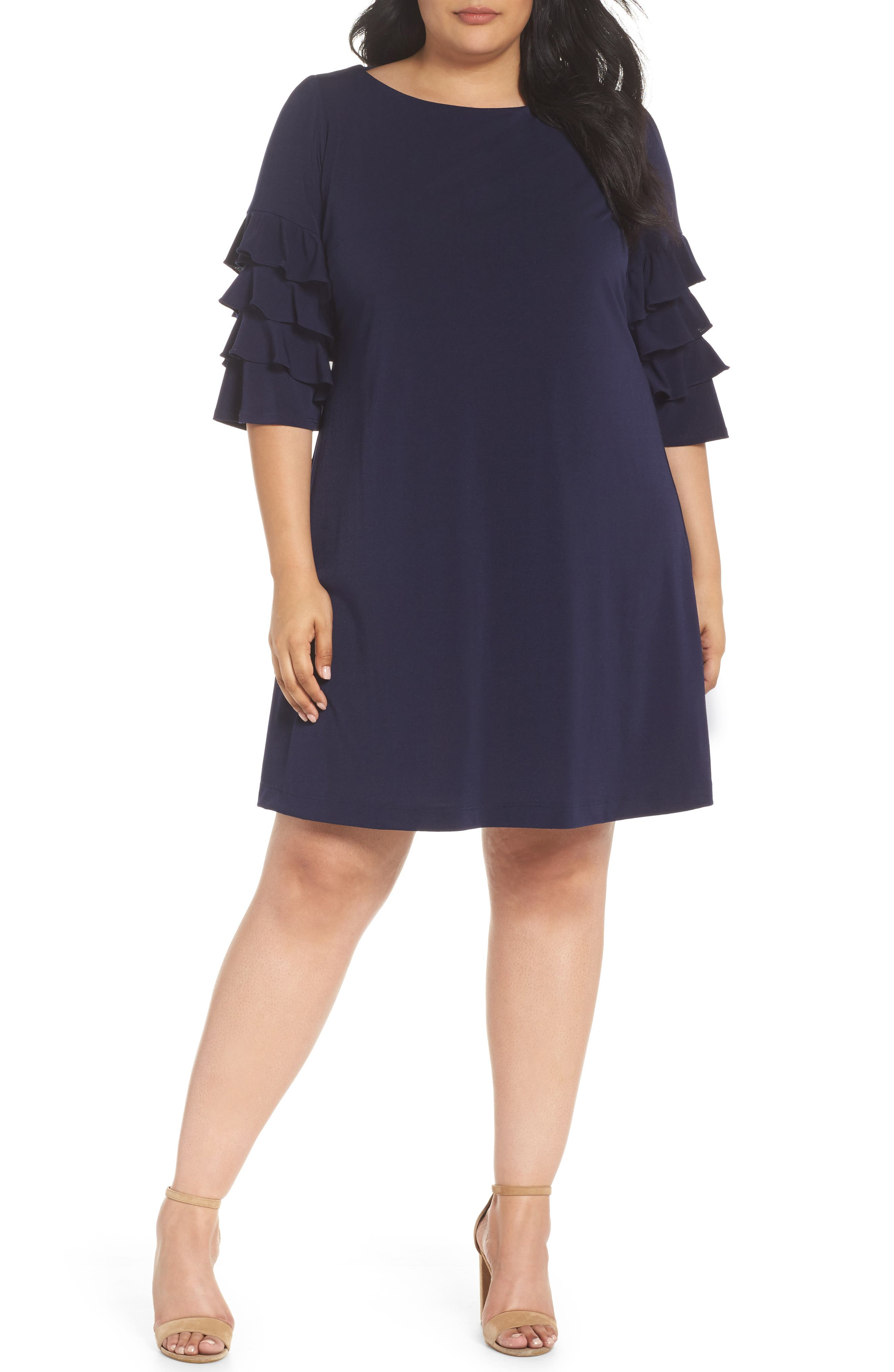 Tiered Ruffle Sleeve Shift Dress,                         Main,                         color, Navy
