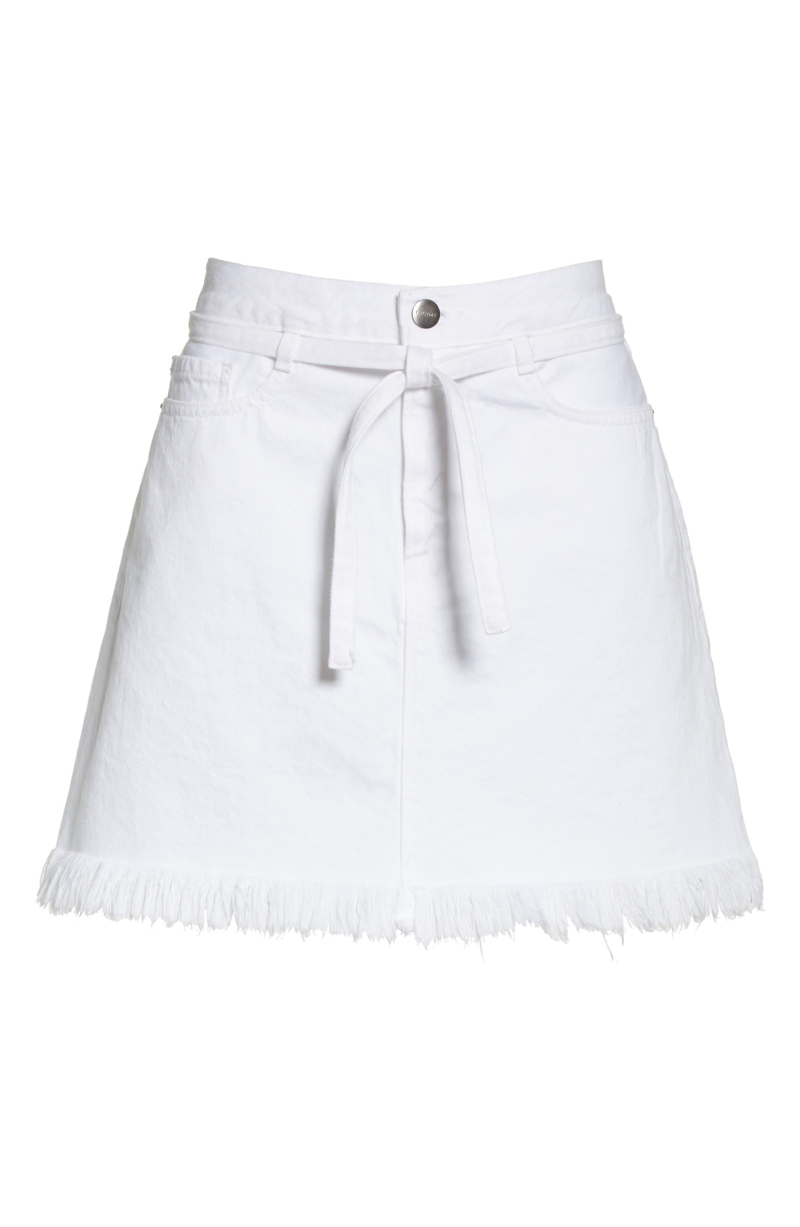 Le High Fray Hem Belted Denim Skirt,                             Alternate thumbnail 6, color,                             Blanc