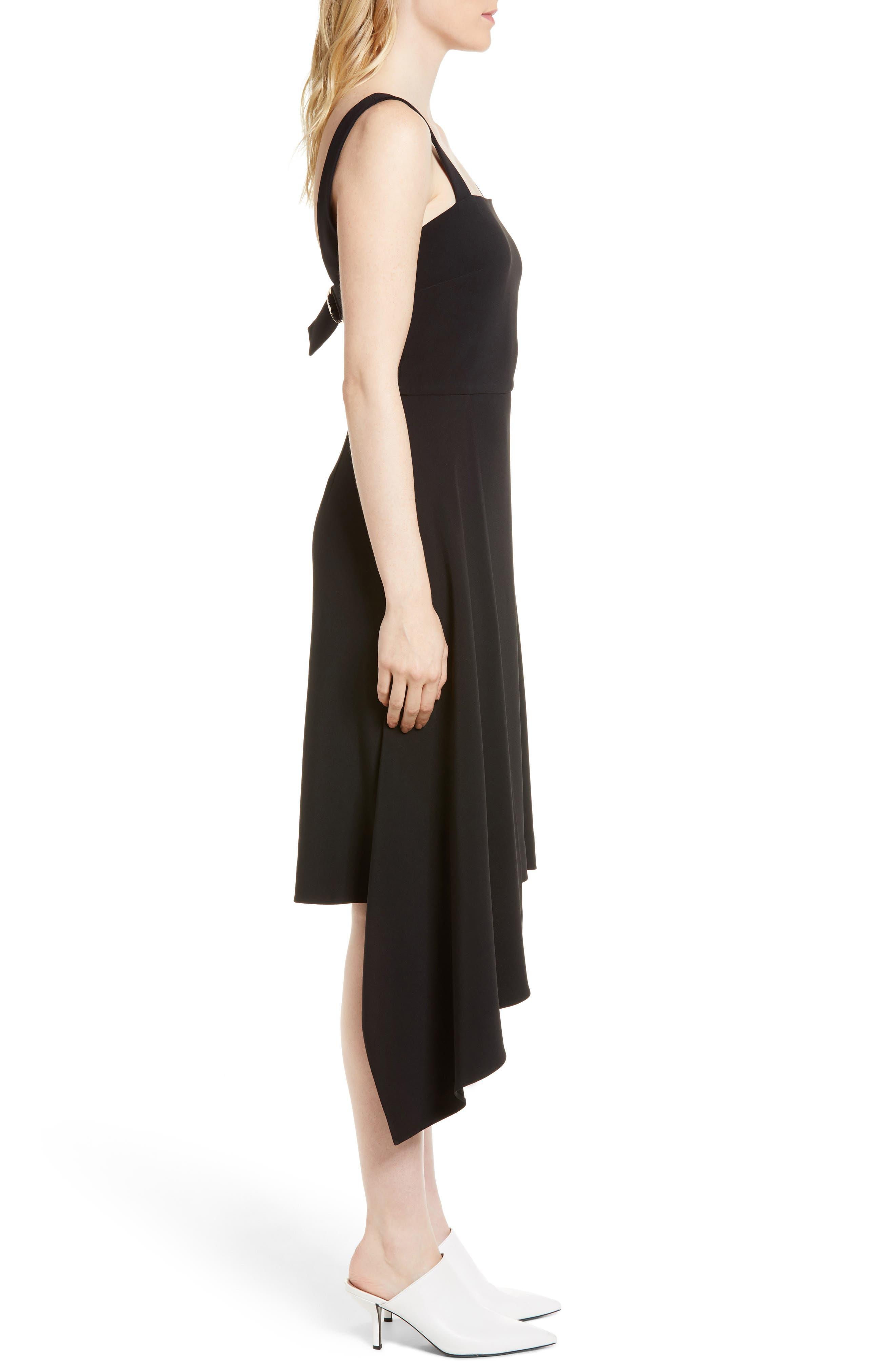 Side Drape Jumper Dress,                             Alternate thumbnail 3, color,                             Black