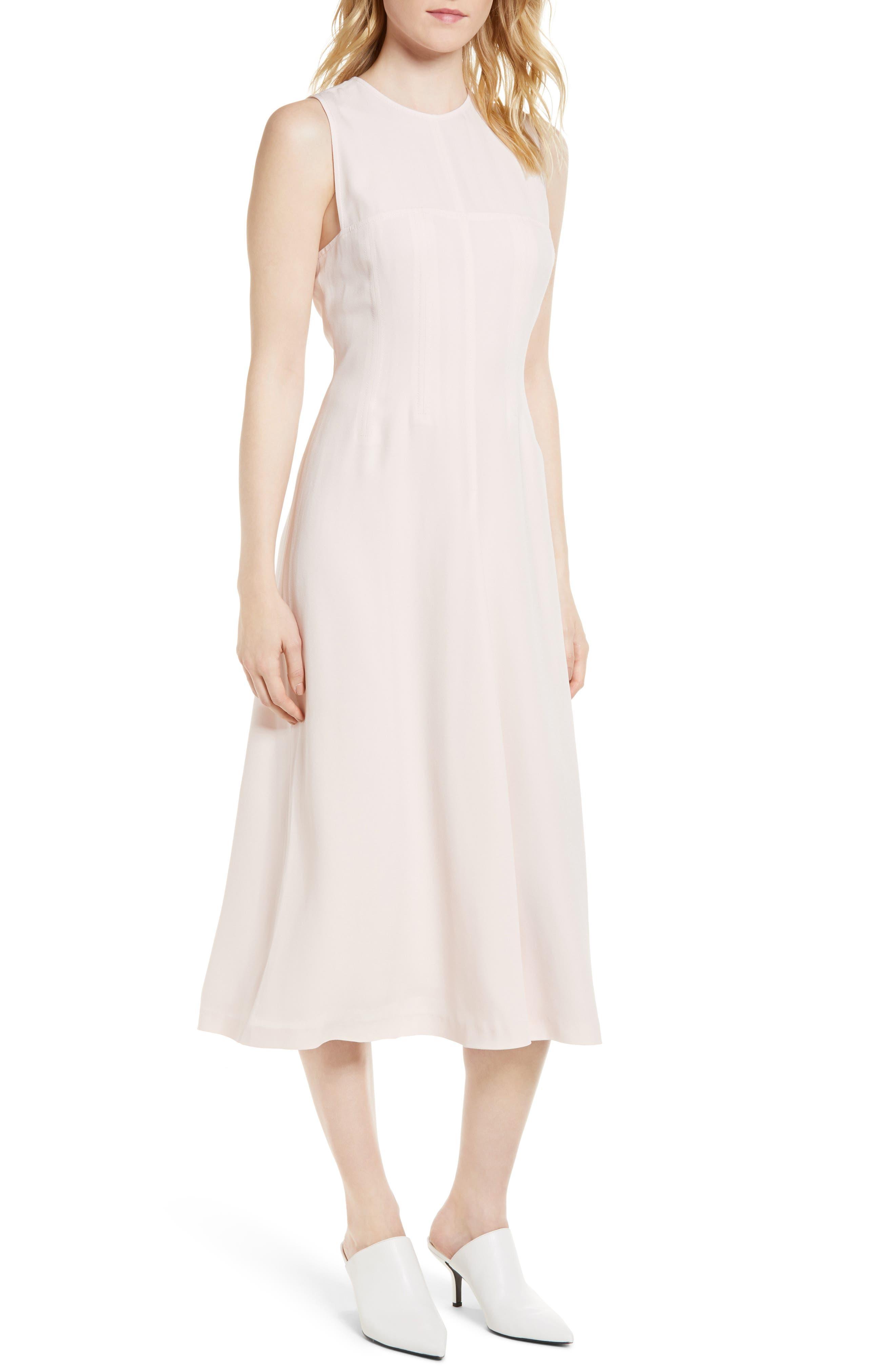 Corset Detail Midi Dress,                         Main,                         color, Pink Peony Bud