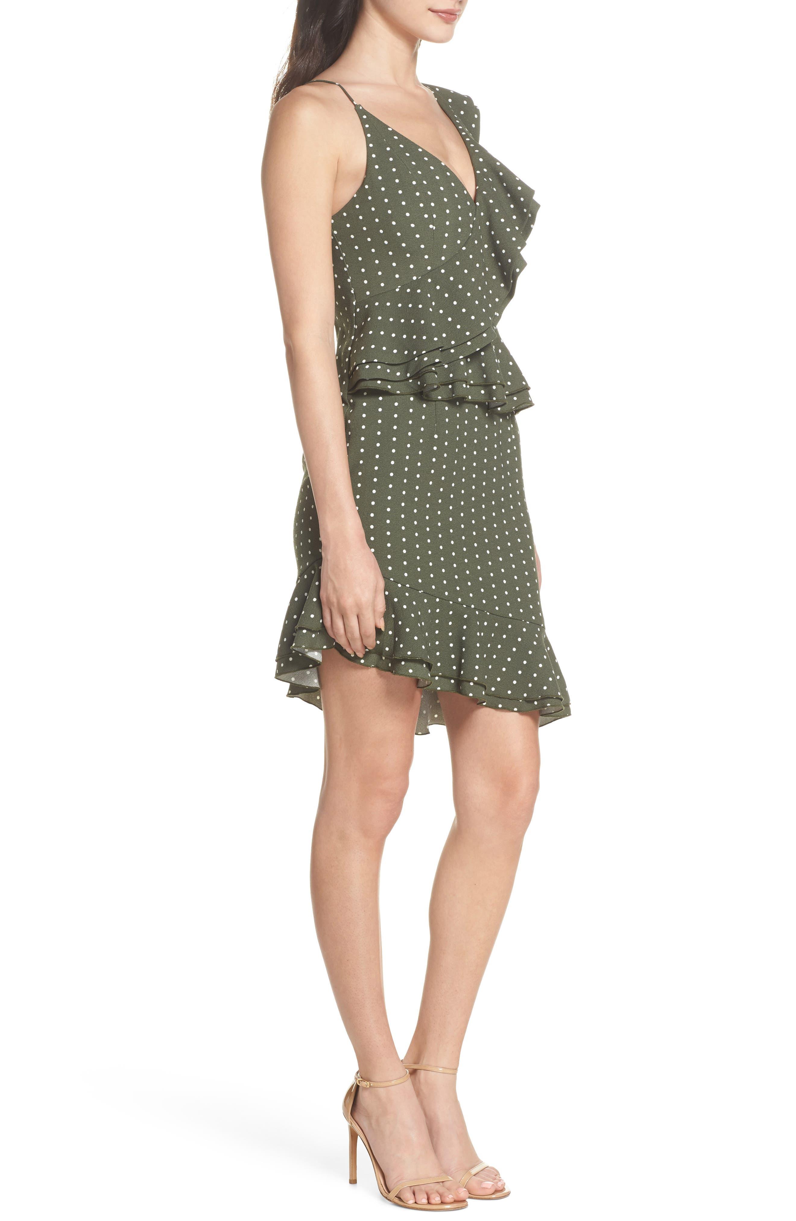 Entice Dot Ruffle Trim Dress,                             Alternate thumbnail 3, color,                             Khaki W Ivory Spot