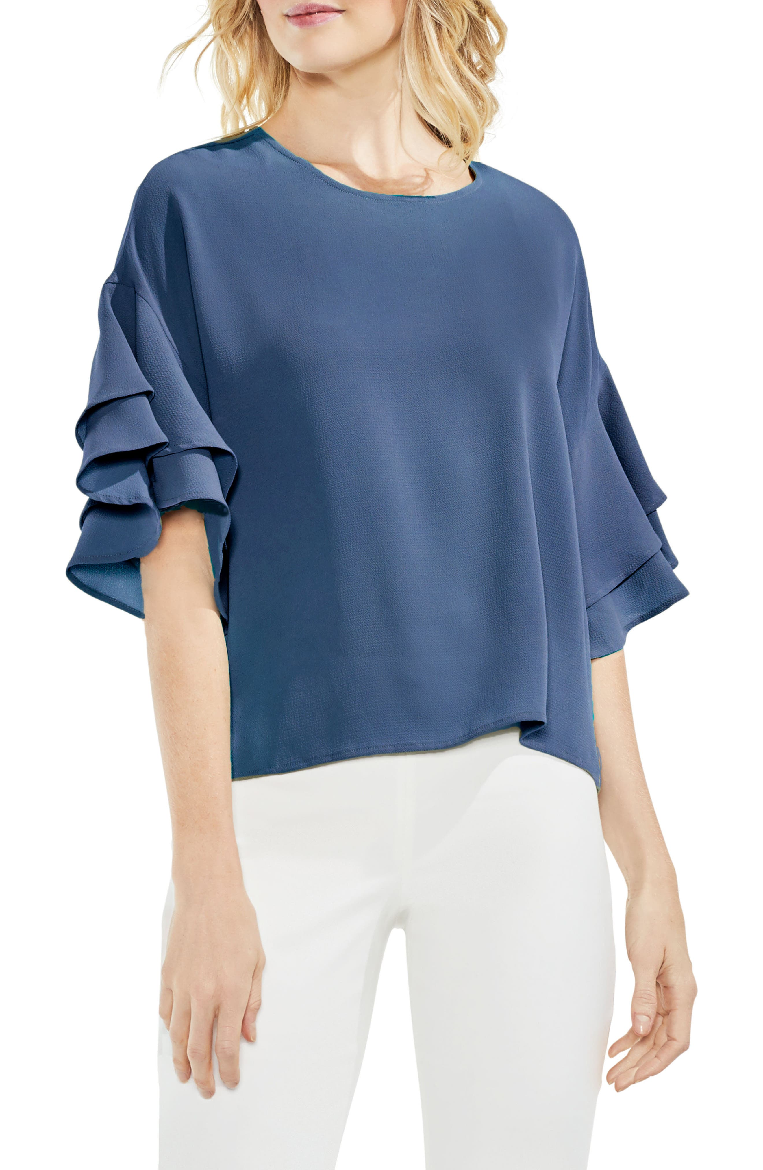 Drop Shoulder Ruffle Sleeve Blouse,                         Main,                         color, China Blue