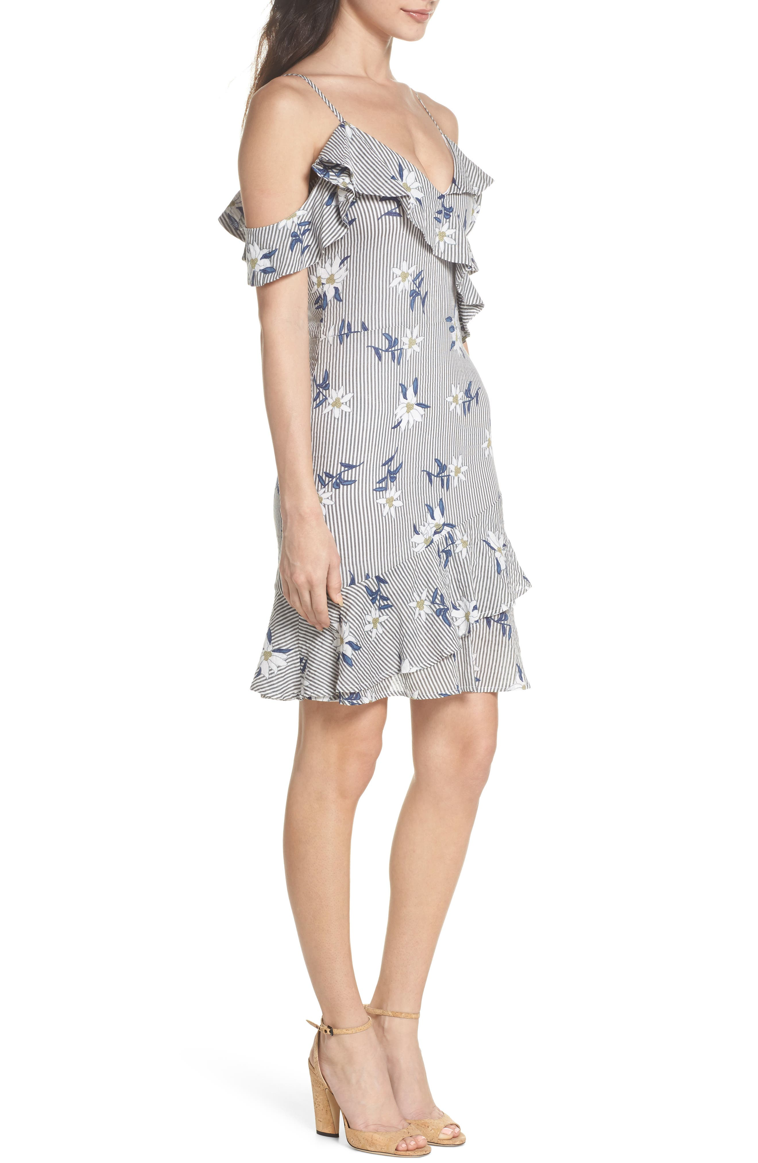 Printed Cold Shoulder Ruffle Dress,                             Alternate thumbnail 3, color,                             Grey