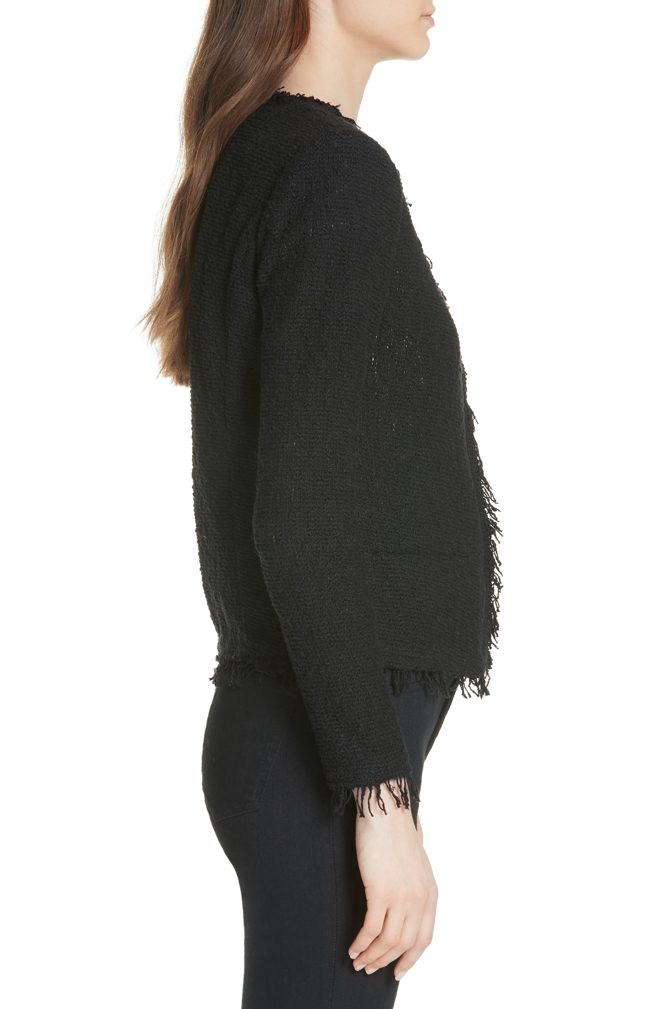 Shavani Tweed Jacket,                             Alternate thumbnail 3, color,                             Black