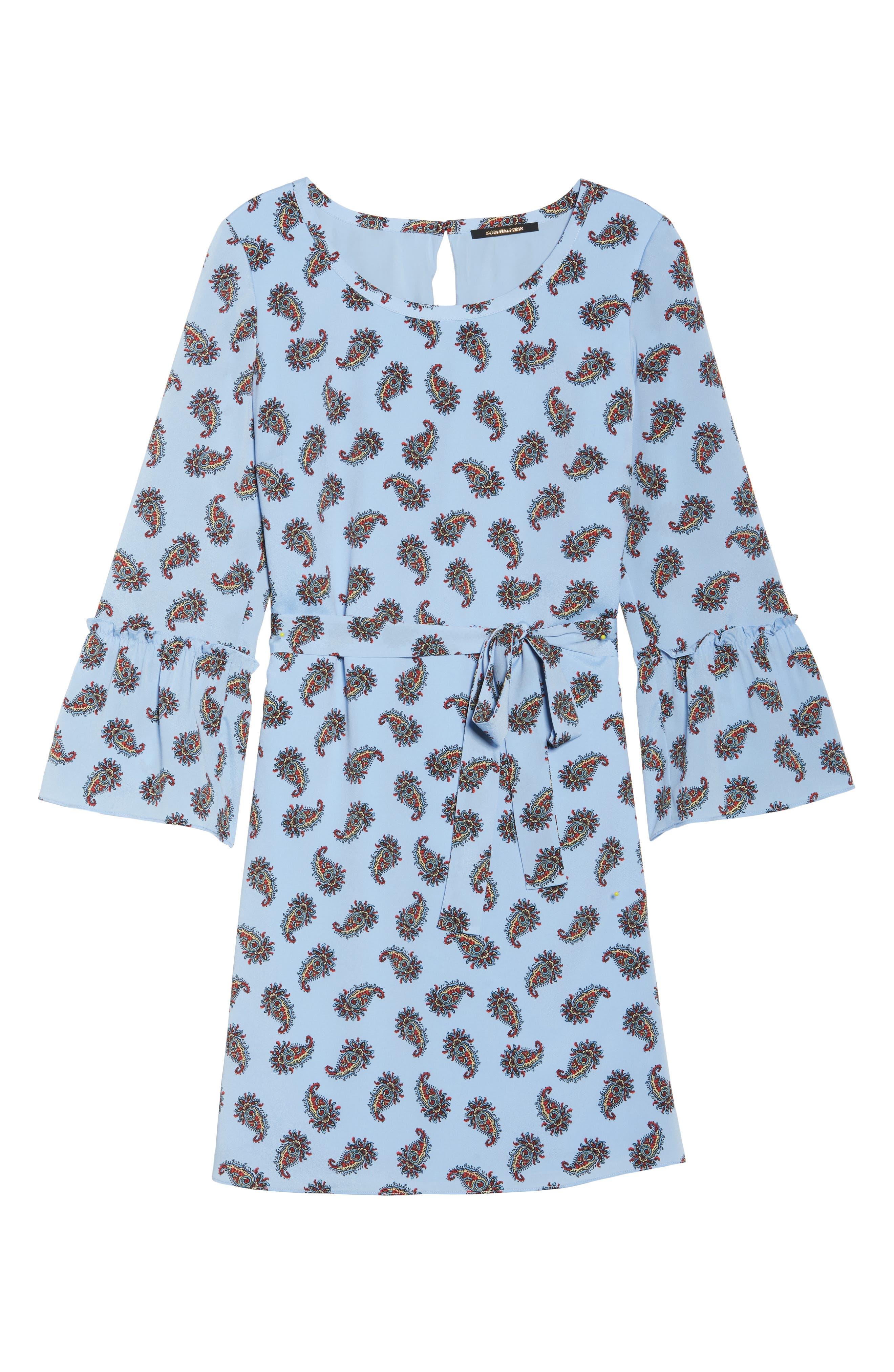 Orli Paisley Print Bell Sleeve Dress,                             Alternate thumbnail 6, color,                             Blue Multi