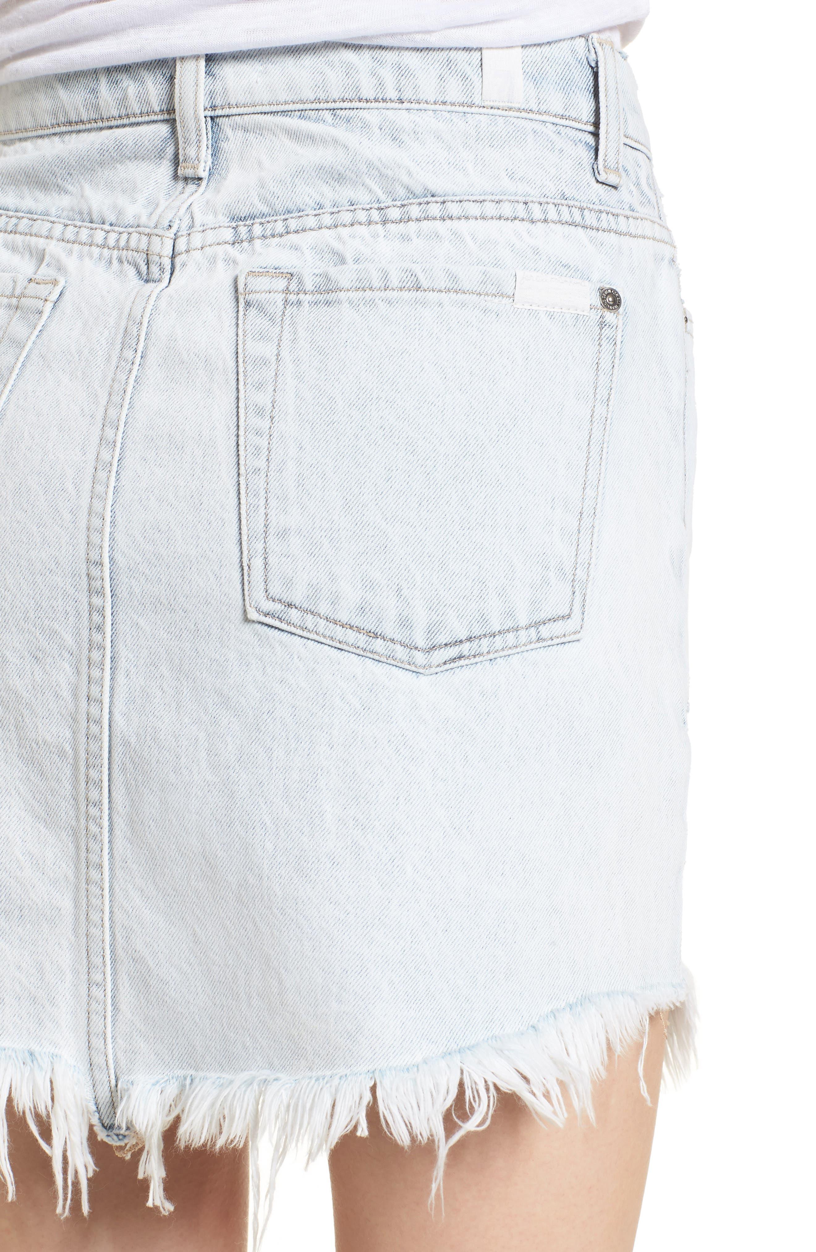Scallop Fray Hem Denim Skirt,                             Alternate thumbnail 4, color,                             Desert Sun Bleached