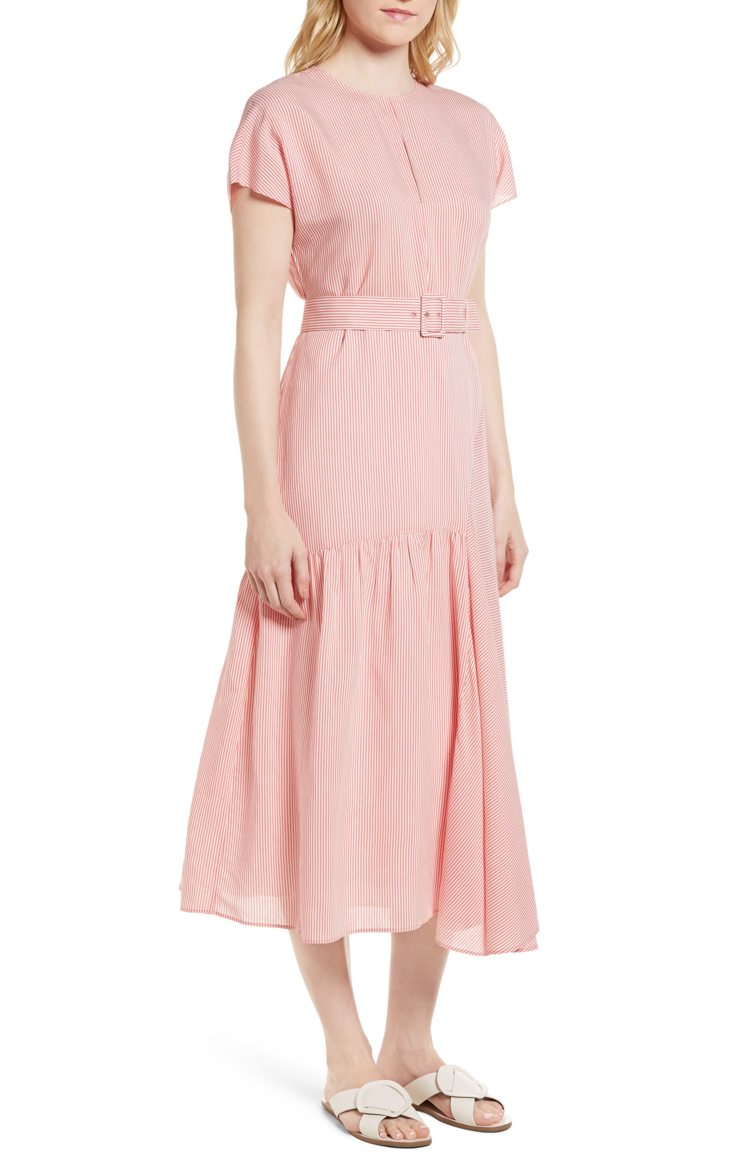 Stripe Belted Dress,                         Main,                         color, Coral Rose Tea Skinny Stripe