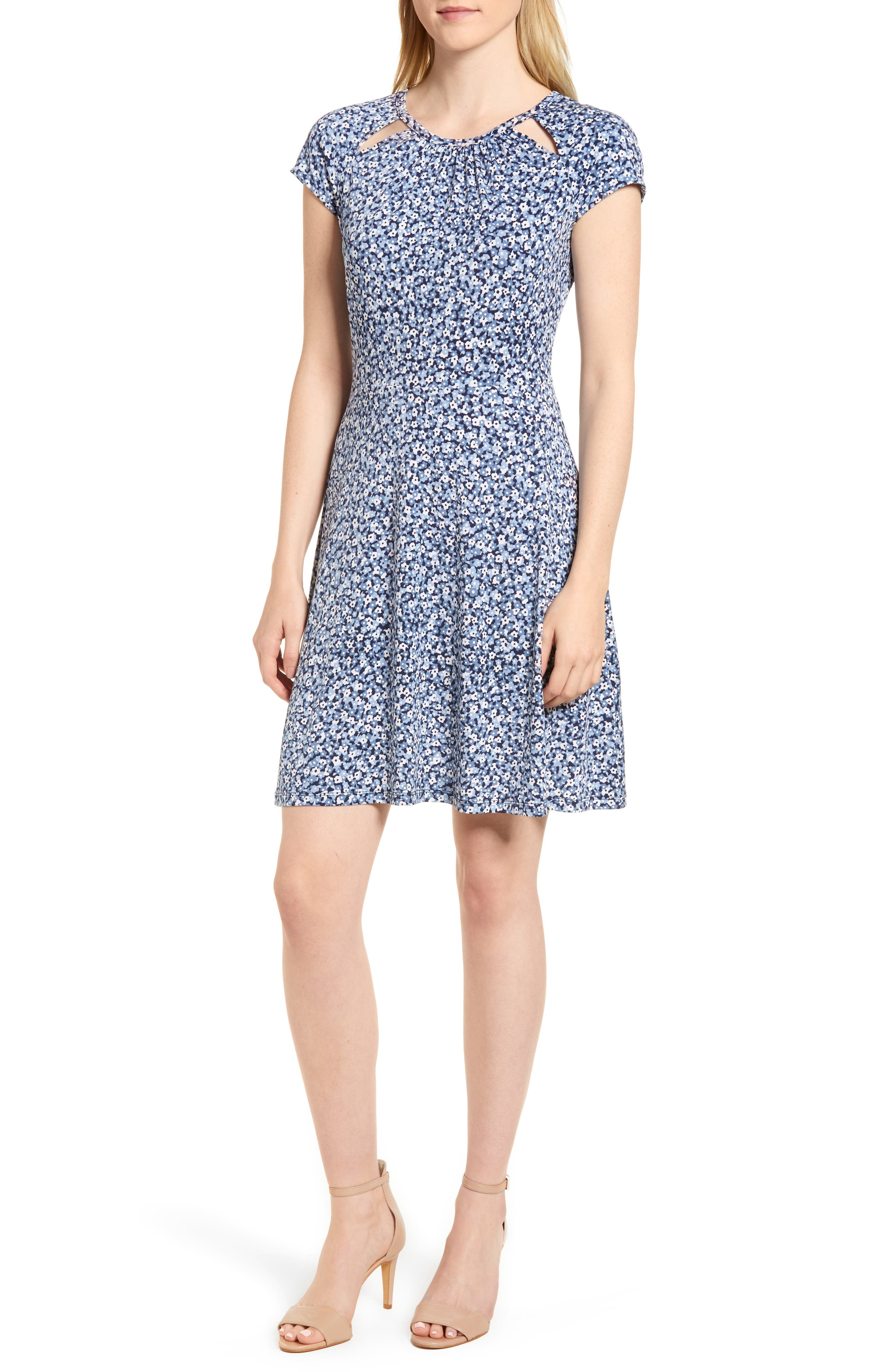Collage Floral Double Keyhole Dress,                             Main thumbnail 1, color,                             True Navy/ Light Chambray