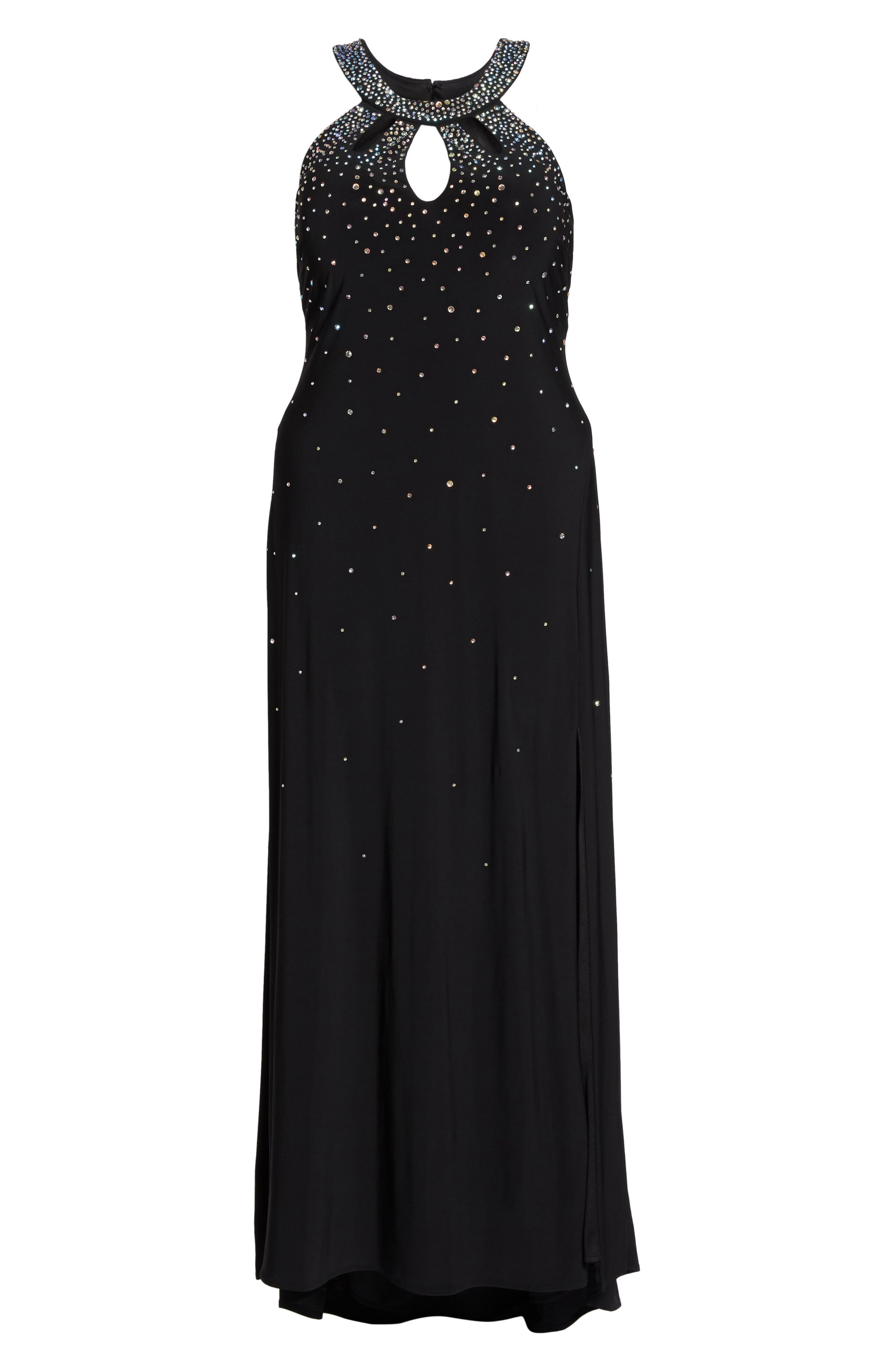 Heat Sealed Stone Knit Gown,                             Alternate thumbnail 6, color,                             Black