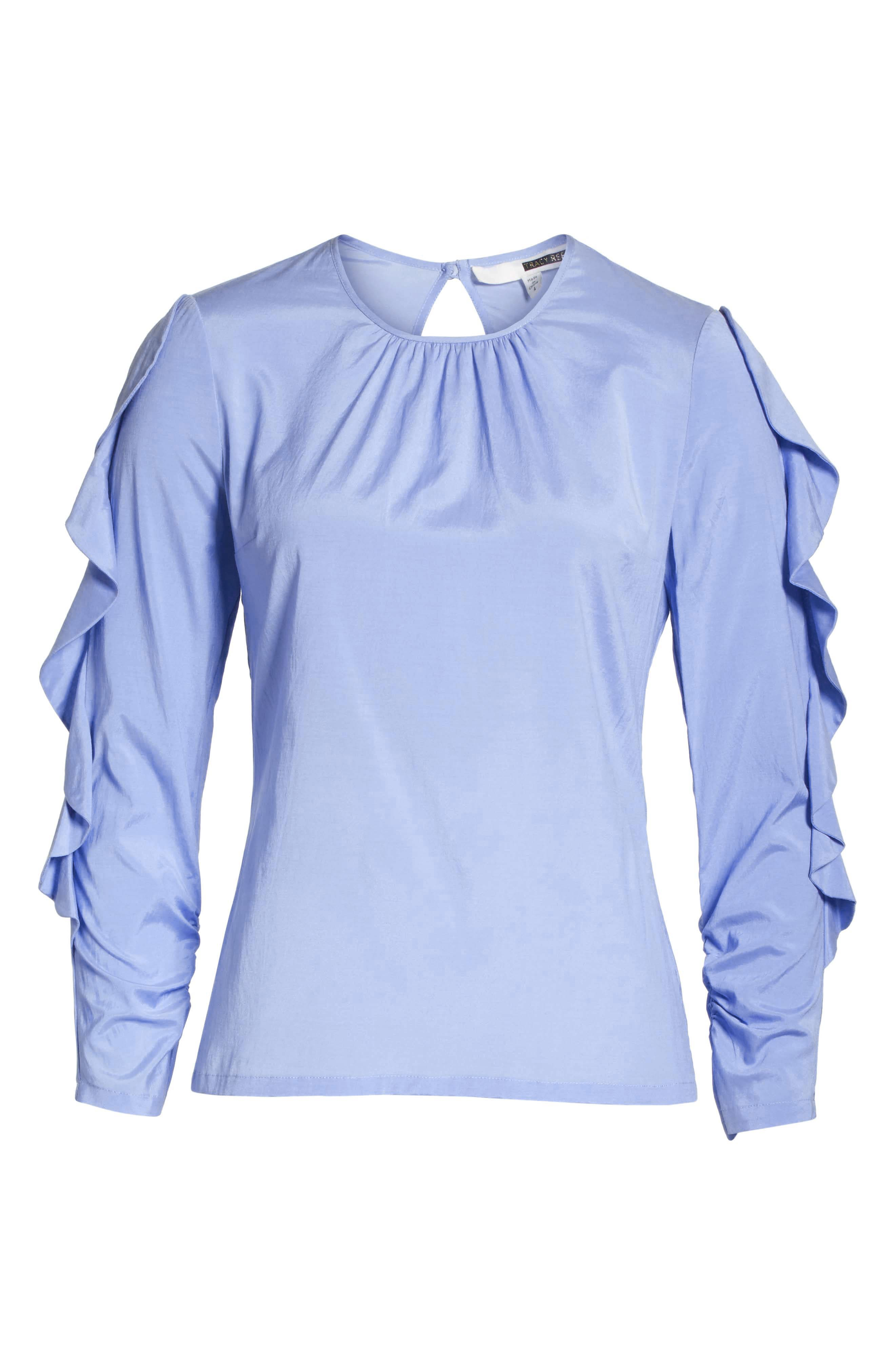 Frilled Stretch Silk Top,                             Alternate thumbnail 7, color,                             Periwinkle