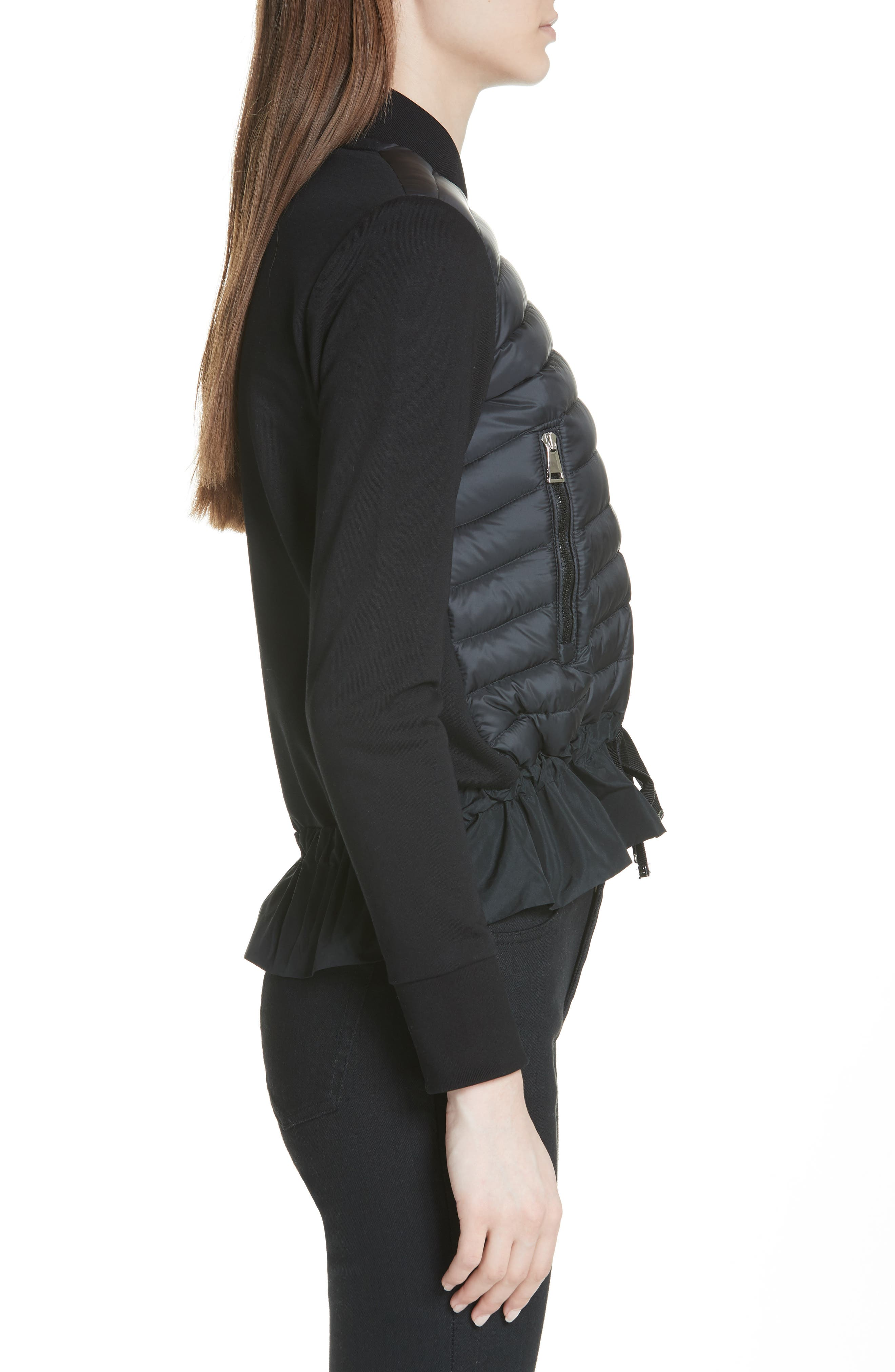 Quilted Down & Cotton Bomber,                             Alternate thumbnail 3, color,                             Black