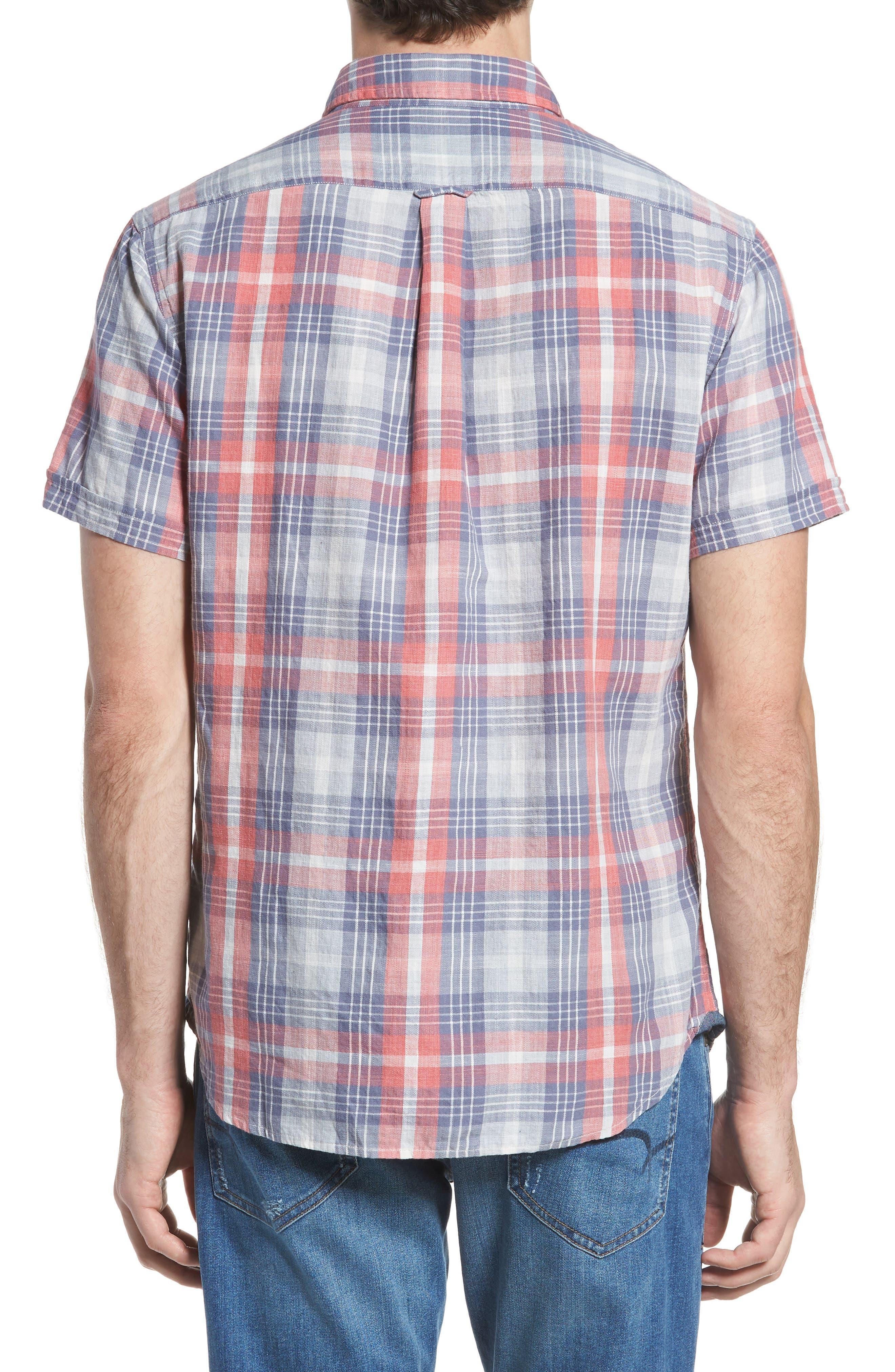 Reynolds Short Sleeve Sport Shirt,                             Alternate thumbnail 3, color,                             Red Gray Plaid