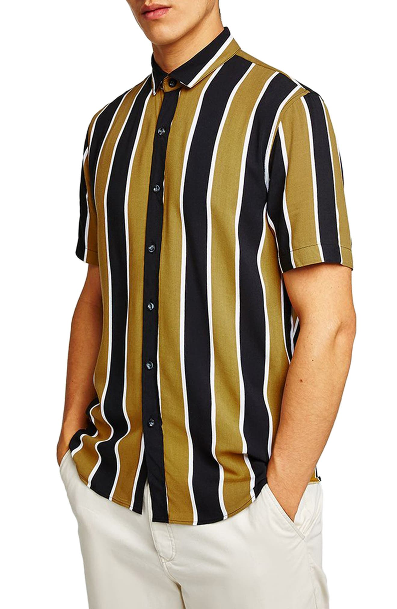 Stripe Viscose Shirt,                             Main thumbnail 1, color,                             Mustard Multi