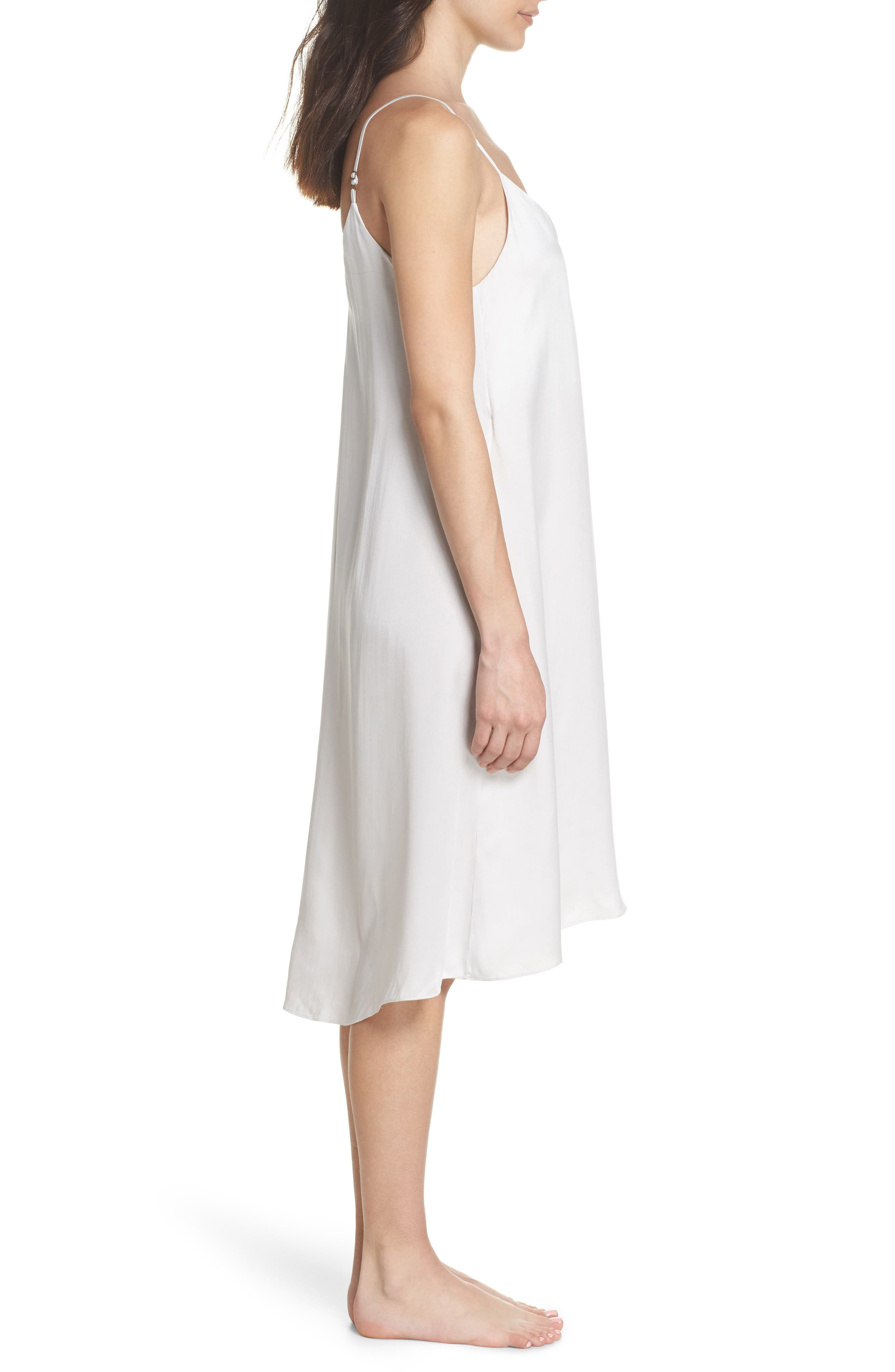 Silk Nightgown,                             Alternate thumbnail 3, color,                             Ice Grey