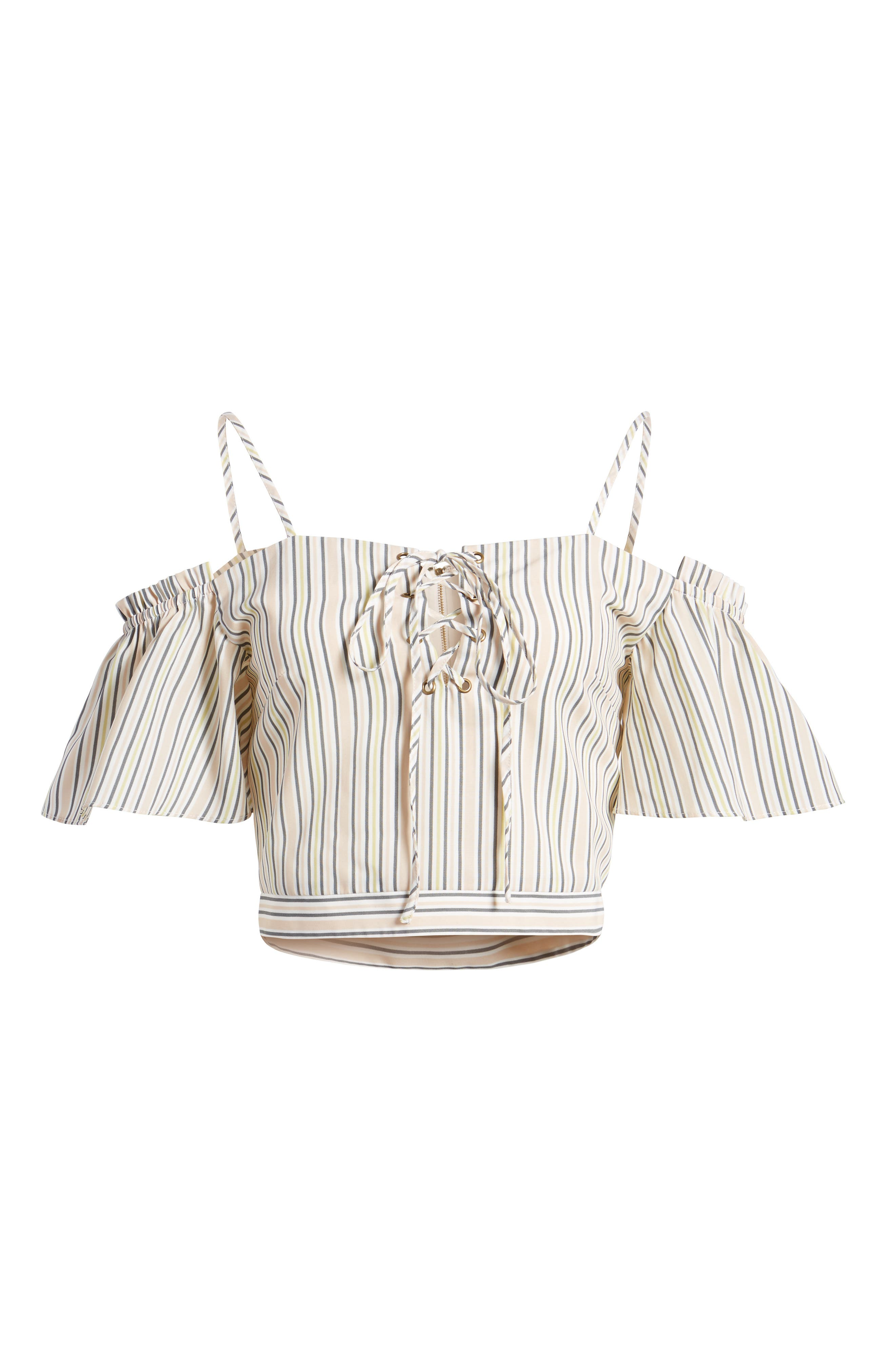 Off the Shoulder Crop Top,                             Alternate thumbnail 7, color,                             Blush Stripe
