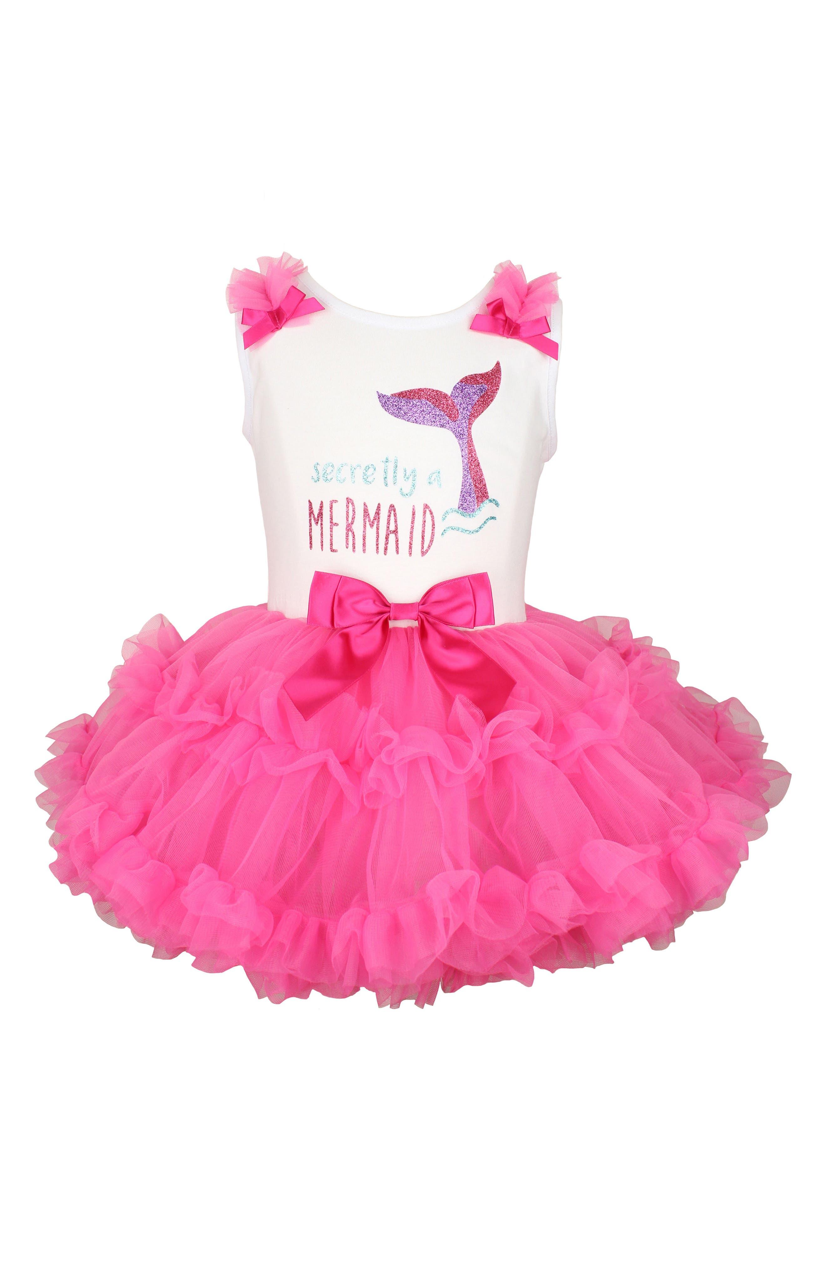 Secretly a Mermaid Sparkle Pettidress,                         Main,                         color, Hot Pink