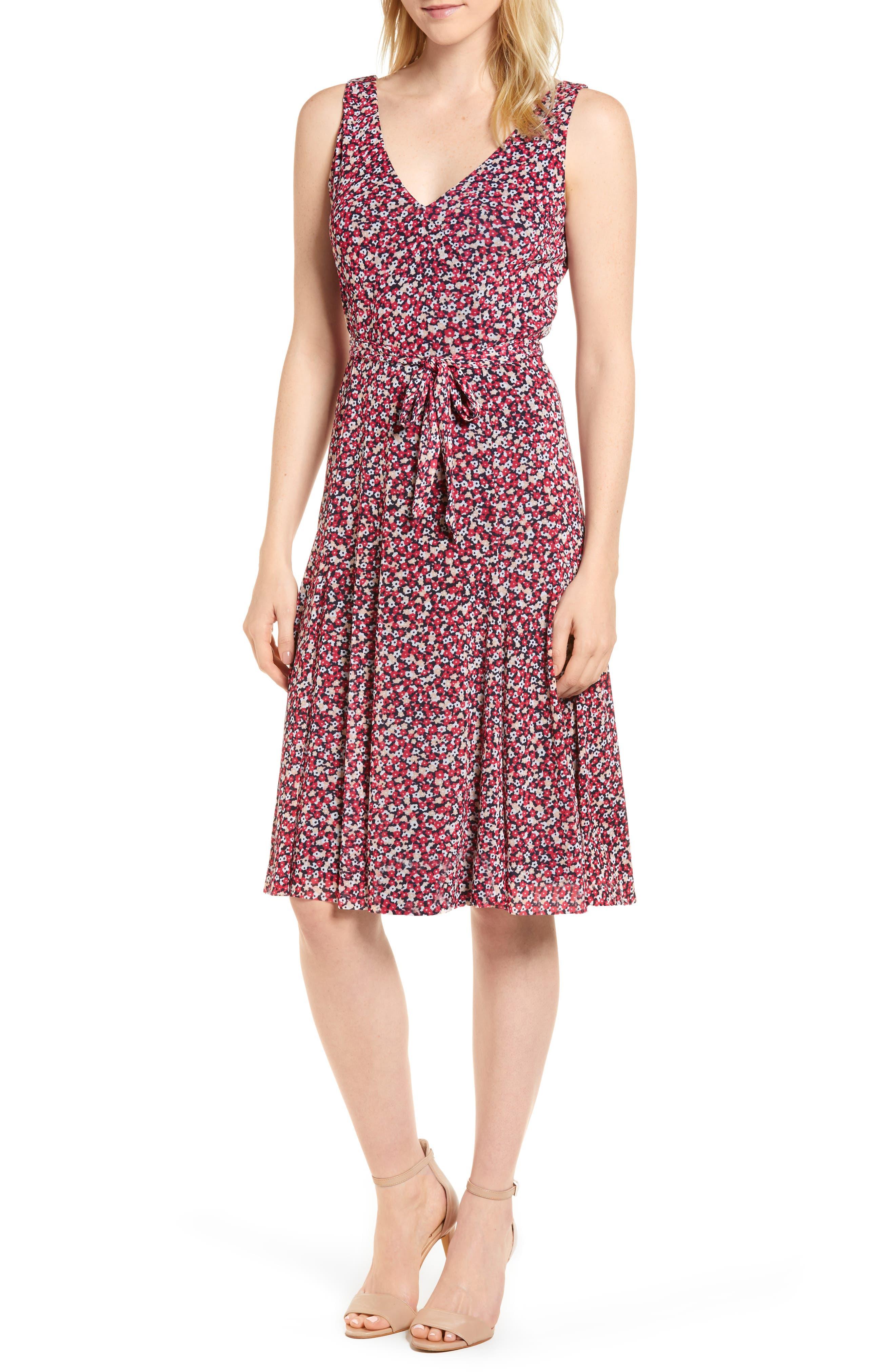Floral Tank Dress,                             Main thumbnail 1, color,                             True Navy/ Bright Blush