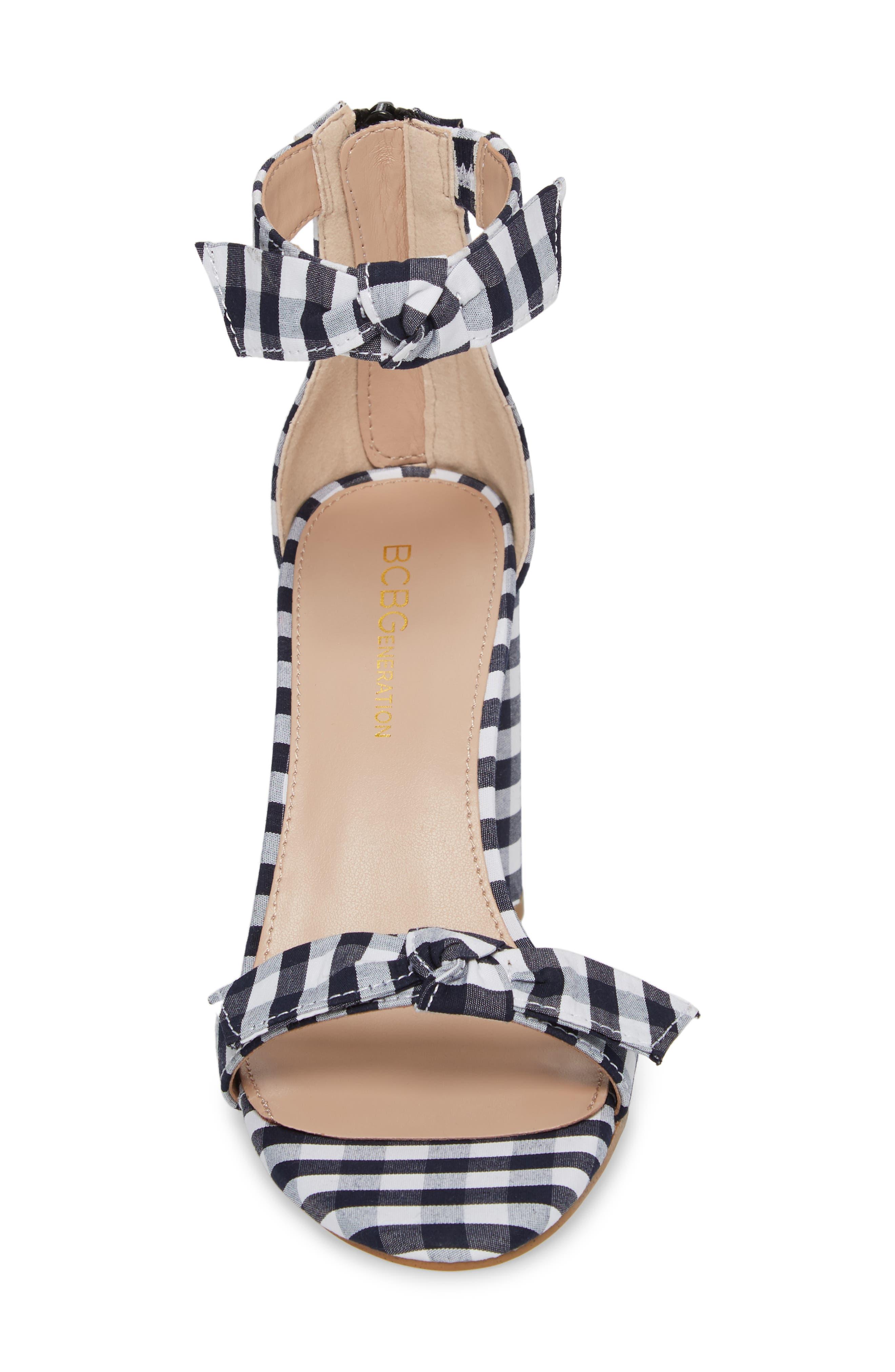 Faedra Ankle Strap Sandal,                             Alternate thumbnail 4, color,                             Dark Blue/ White
