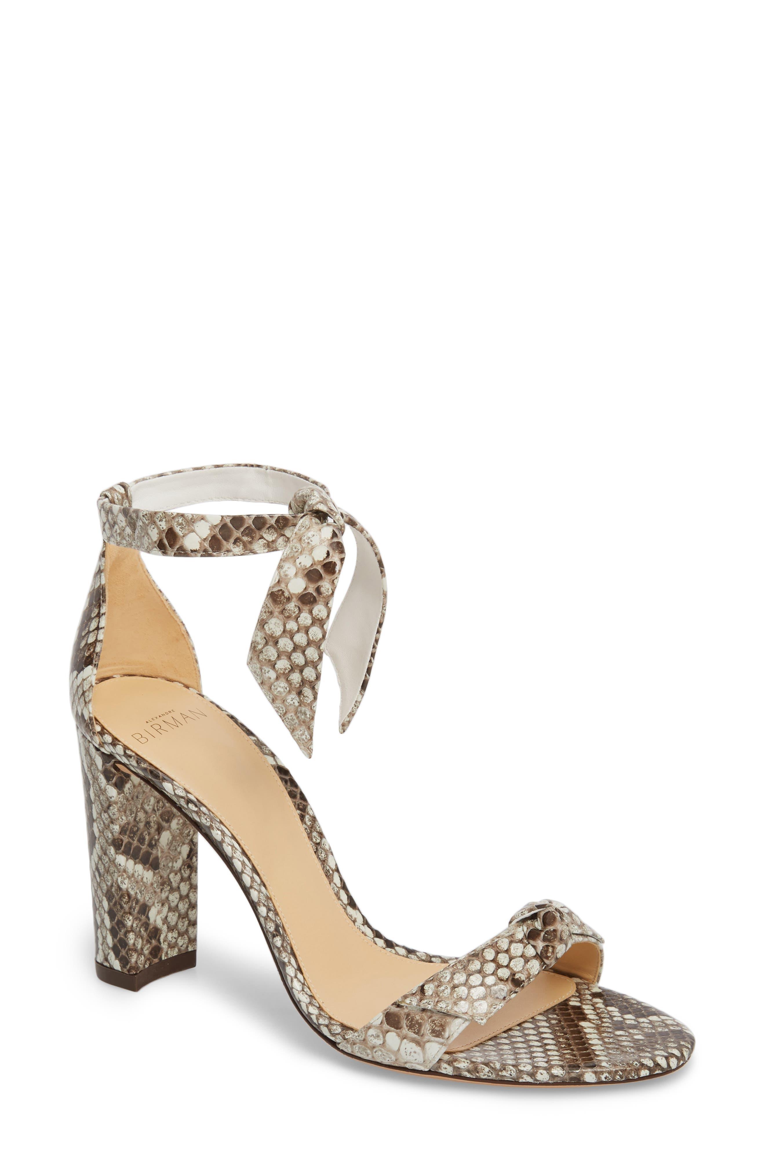 Clarita Genuine Python Ankle Tie Sandal,                         Main,                         color, Natural