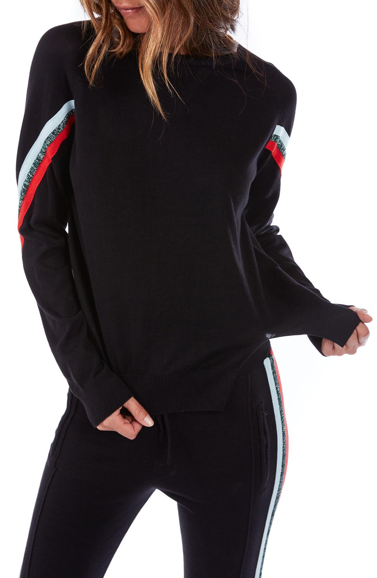 Rainbow Stripe Sweater,                             Main thumbnail 1, color,                             Black Multi