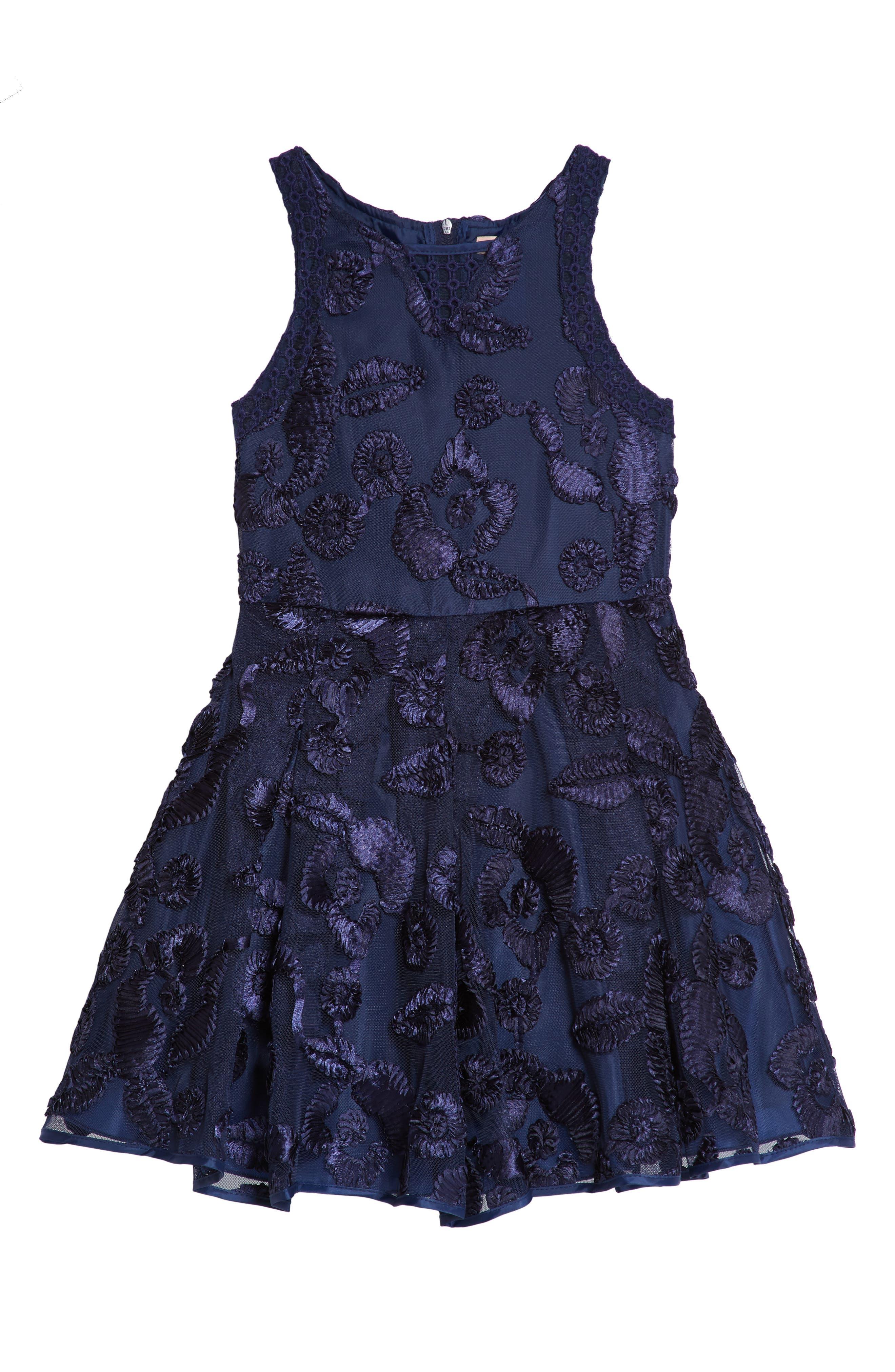Floral Soutache Tulle Dress,                             Main thumbnail 1, color,                             Navy