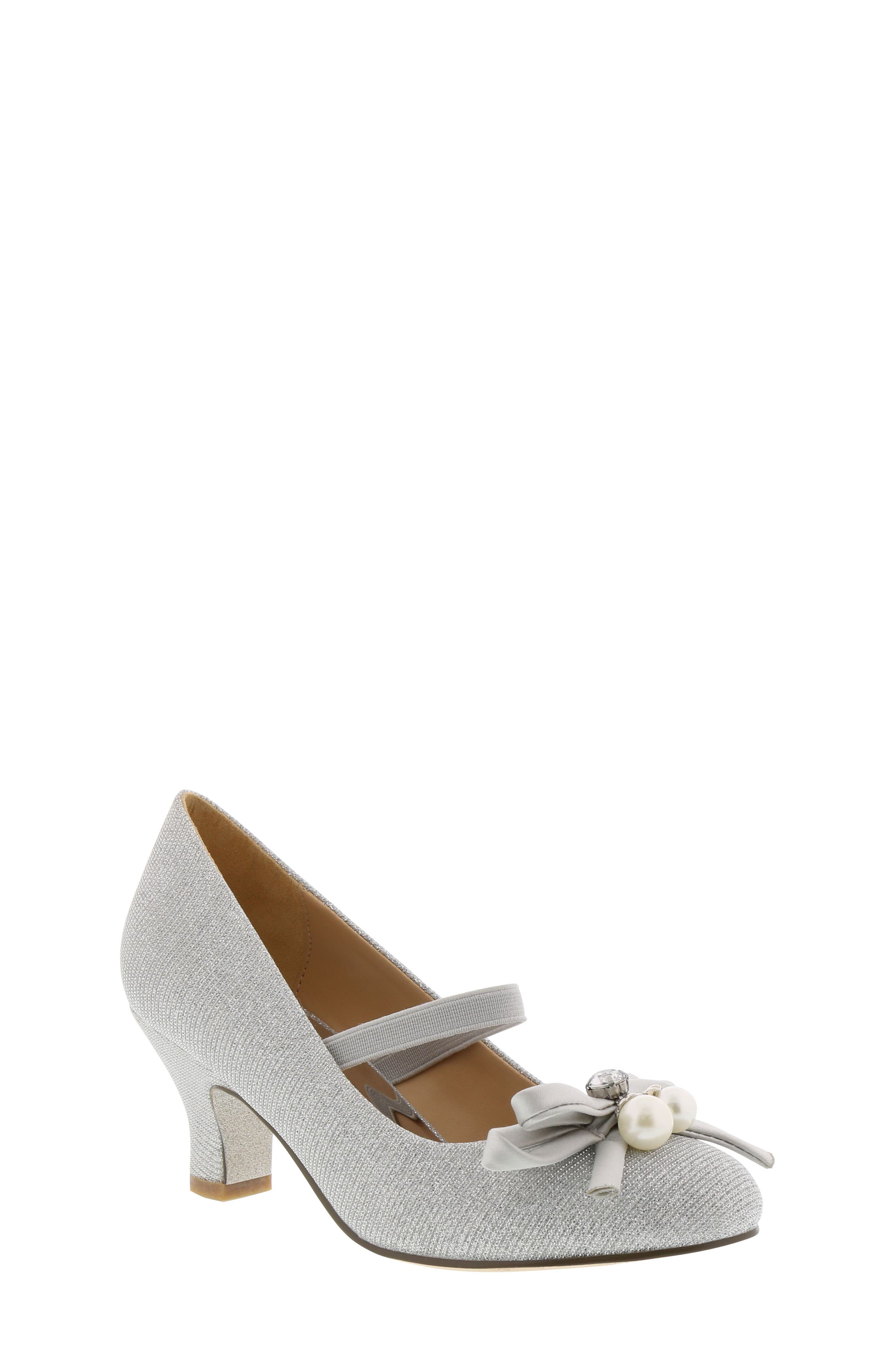 Milah Embellished Bow Pump,                         Main,                         color, Silver Multi