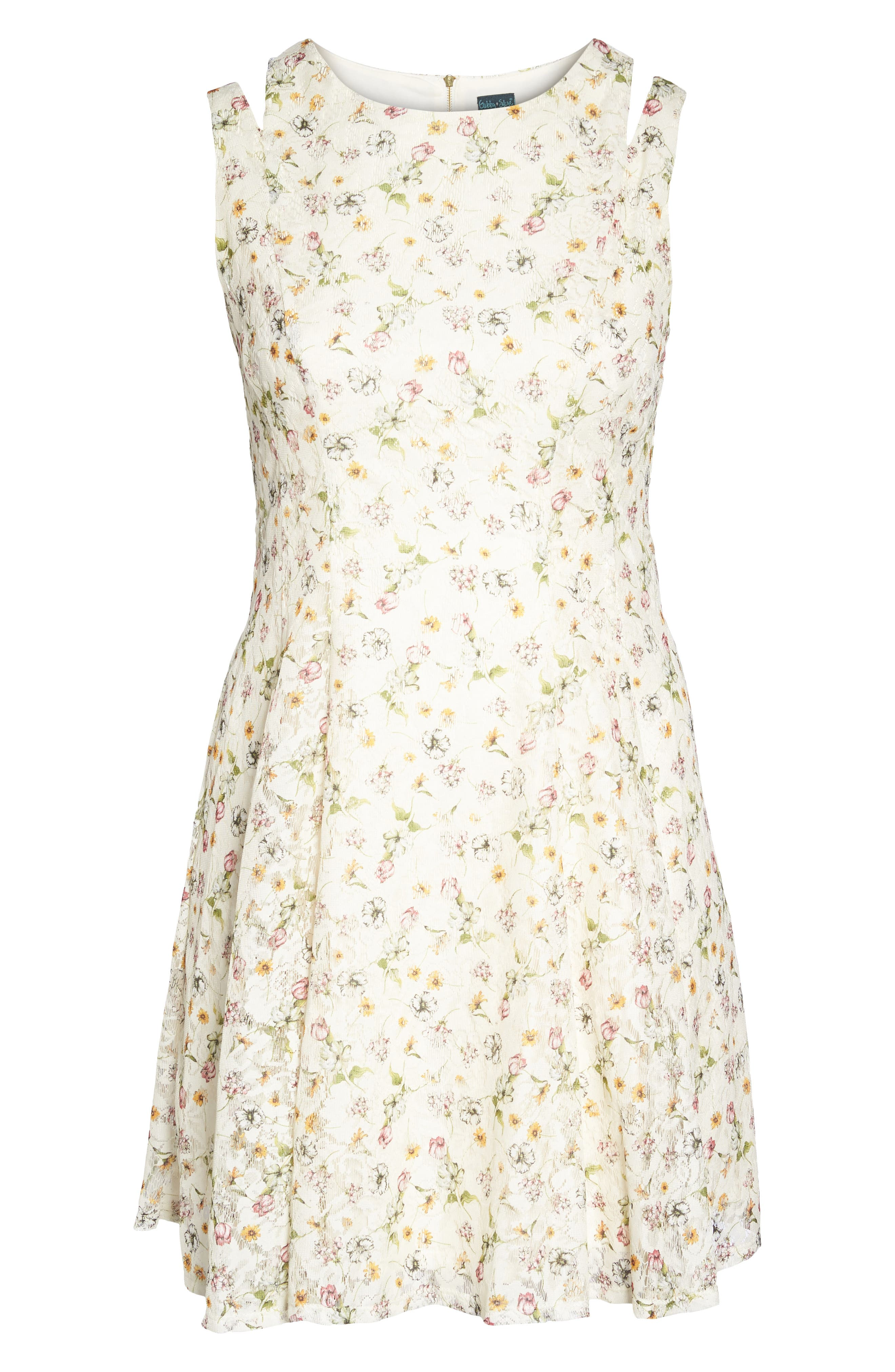 Cutout Shoulder Floral Print Lace Dress,                             Alternate thumbnail 6, color,                             Cream Multi