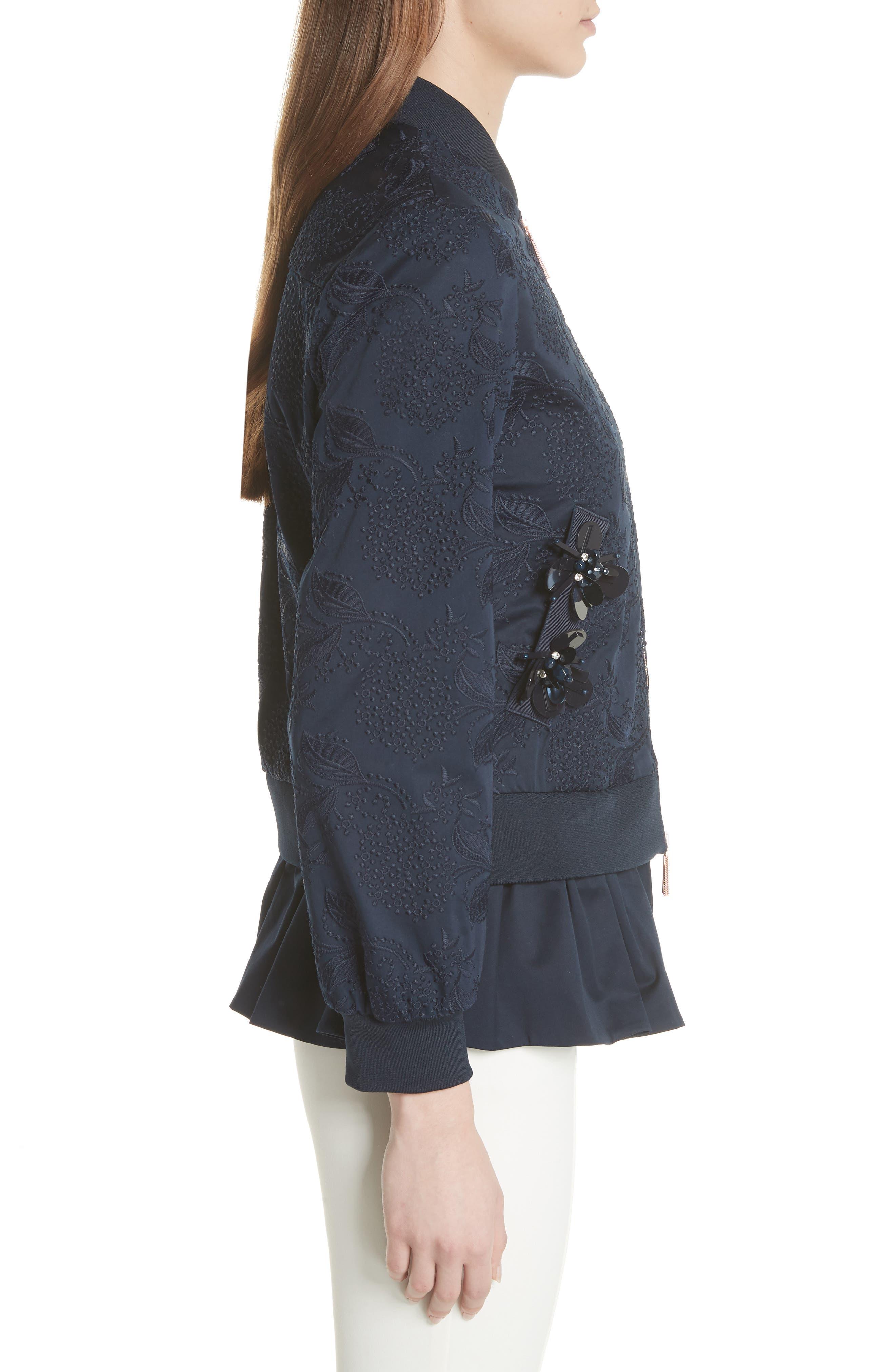 Embellished Frill Trim Bomber Jacket,                             Alternate thumbnail 3, color,                             Navy