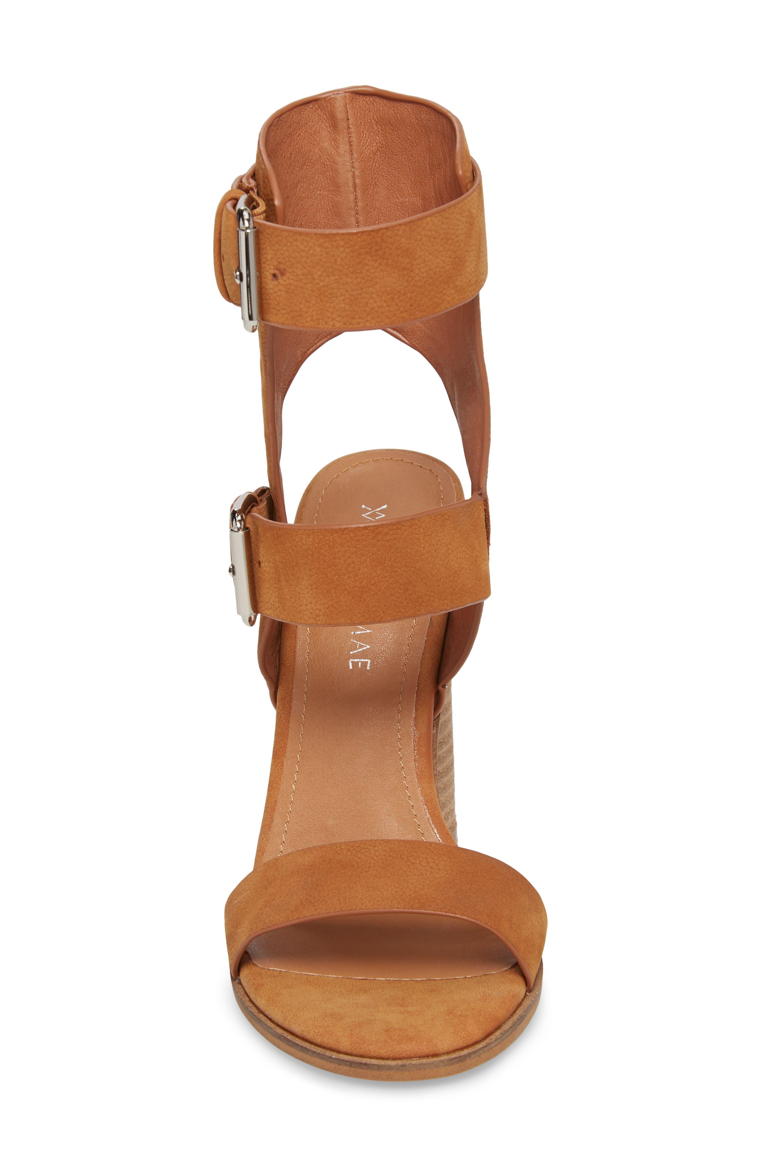 Abeba Block Heel Sandal,                             Alternate thumbnail 4, color,                             Tan Leather