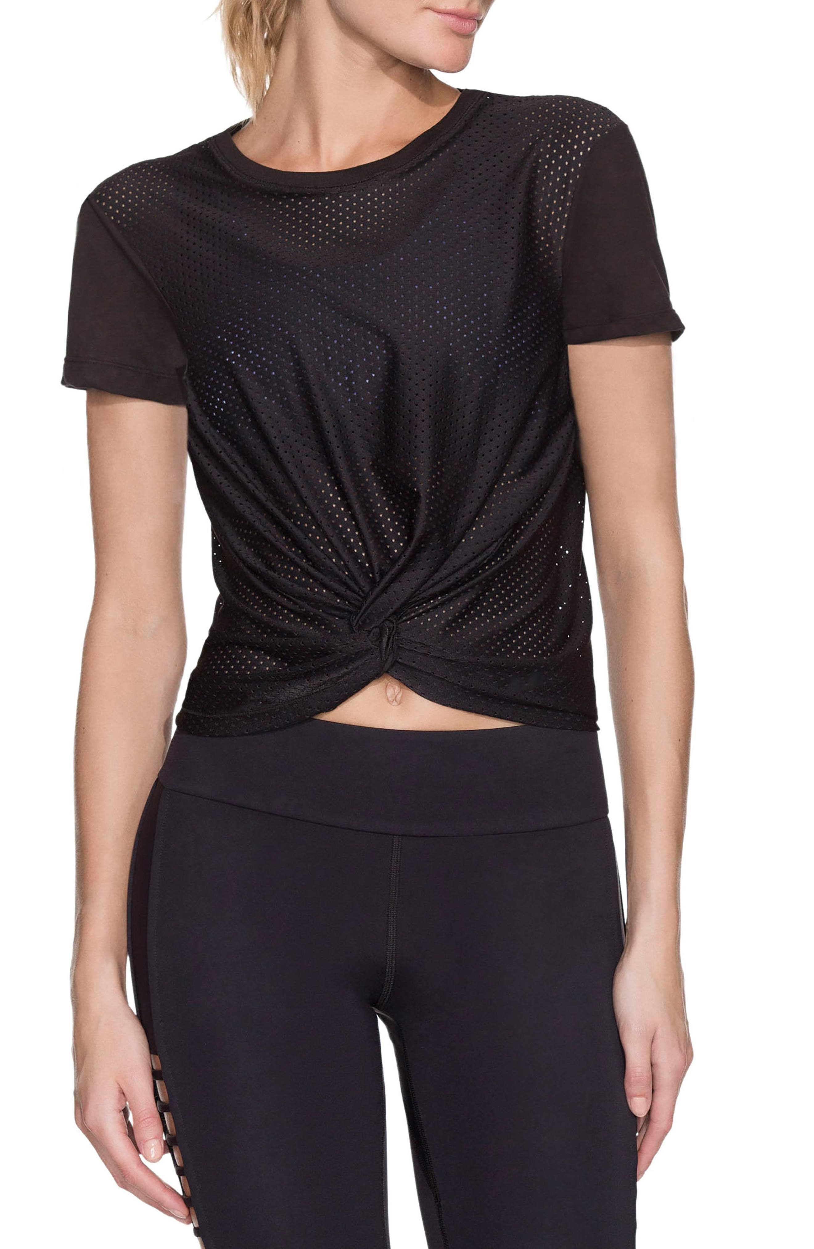 Oasis Knot Front Tee,                         Main,                         color, Black