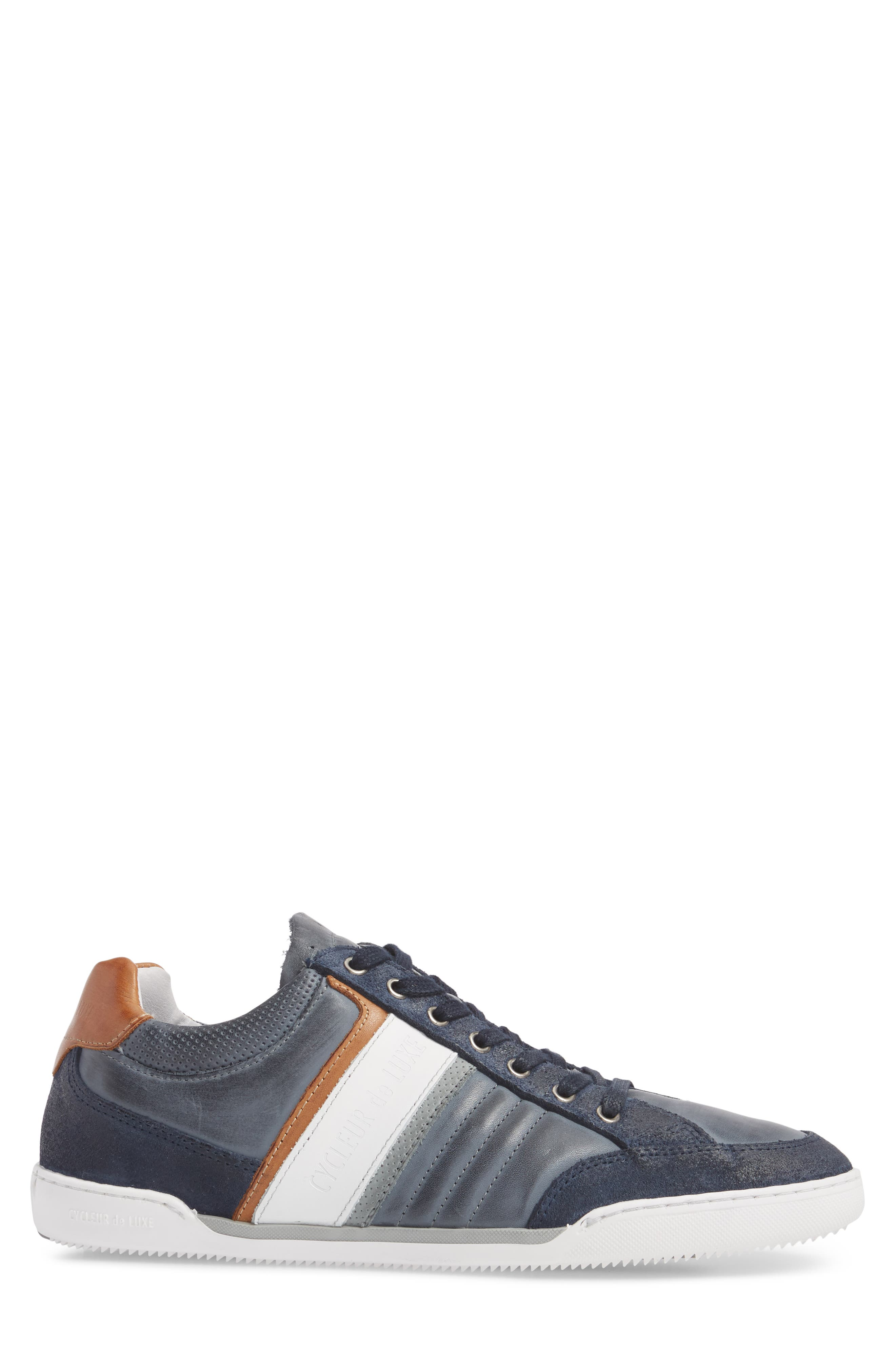 Solo Low Top Sneaker,                             Alternate thumbnail 3, color,                             Denim/ White/ Cognac Leather