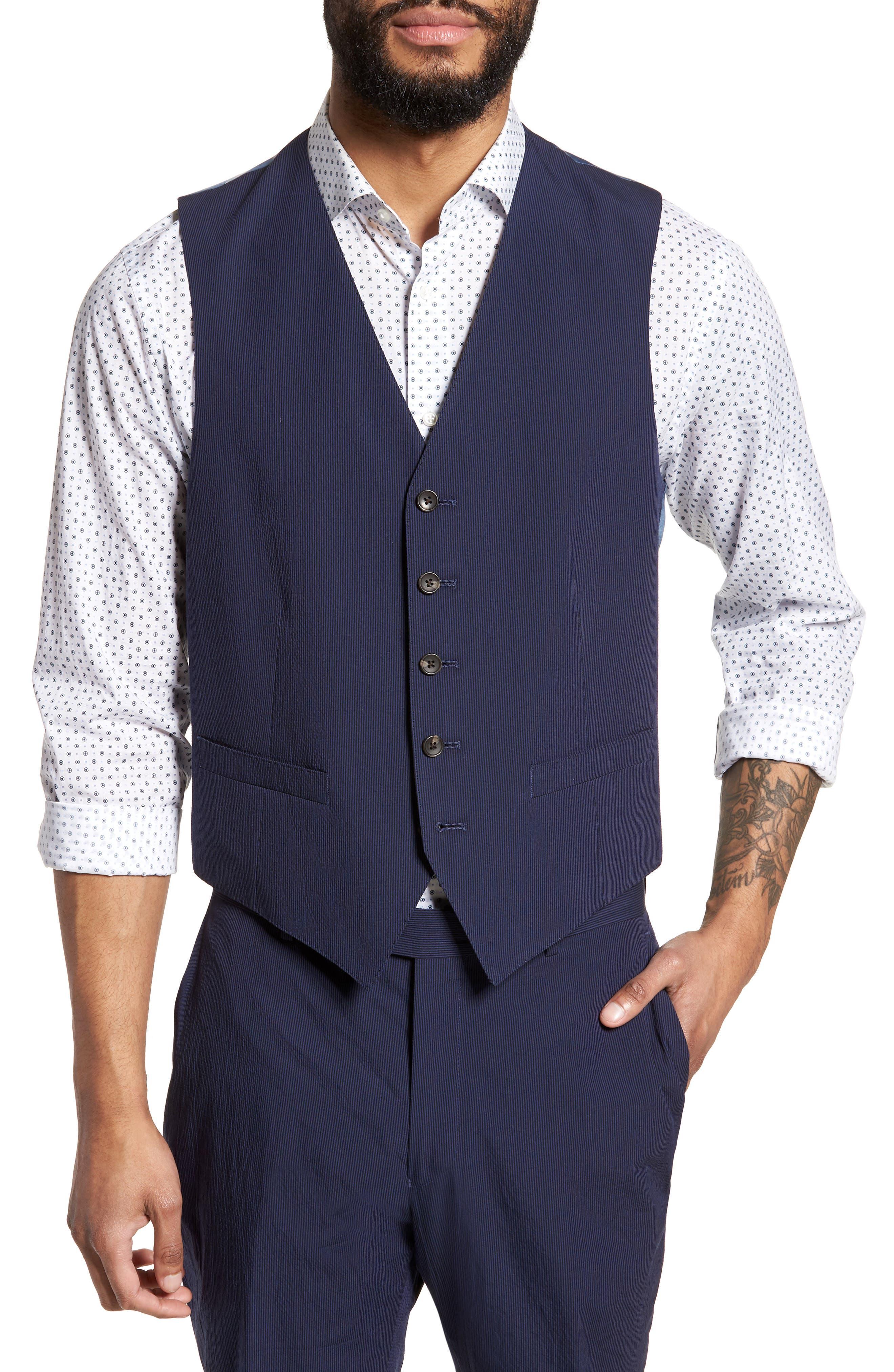 Alfa Trim Fit Seersucker Vest,                         Main,                         color, Navy Stripe