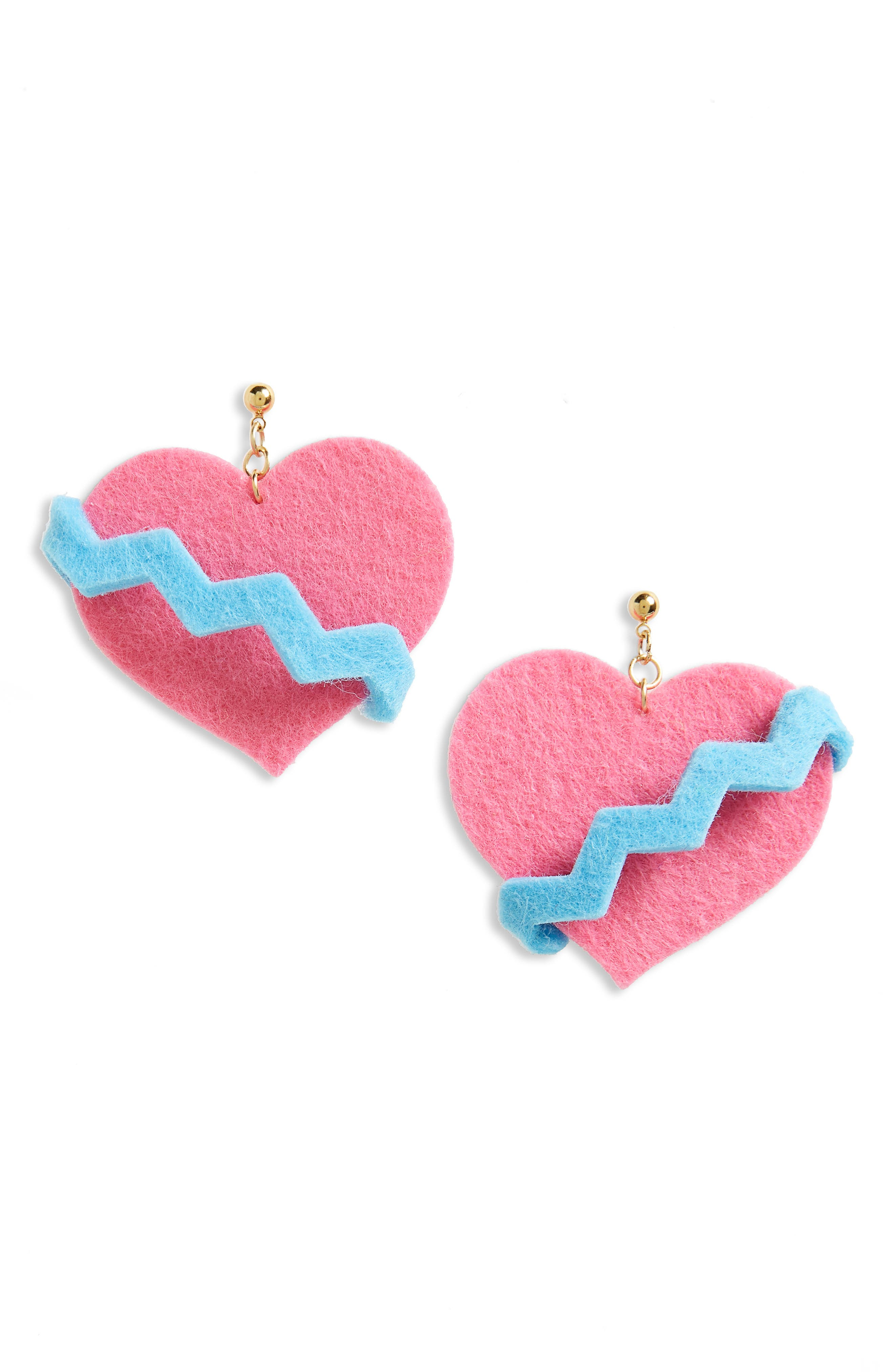 Heart Earrings,                         Main,                         color, Pink
