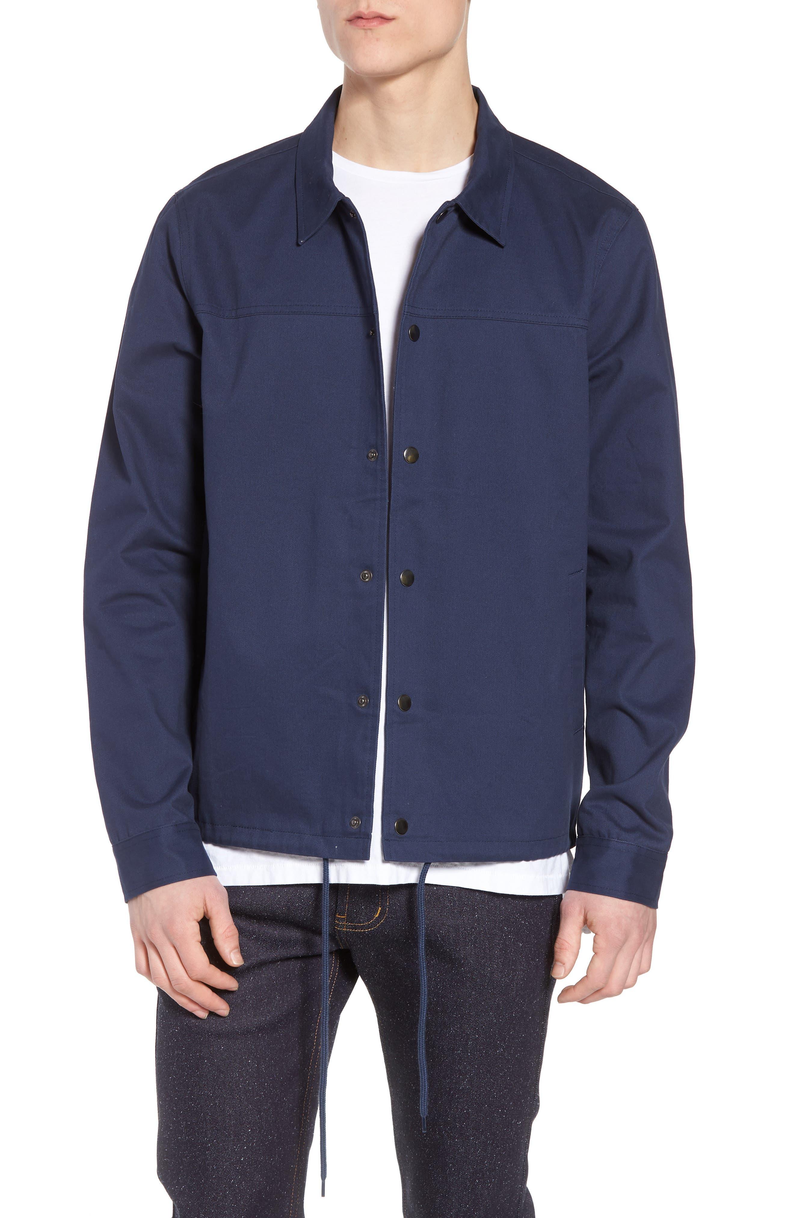Snap Front Coach's Jacket,                             Main thumbnail 1, color,                             Navy Iris