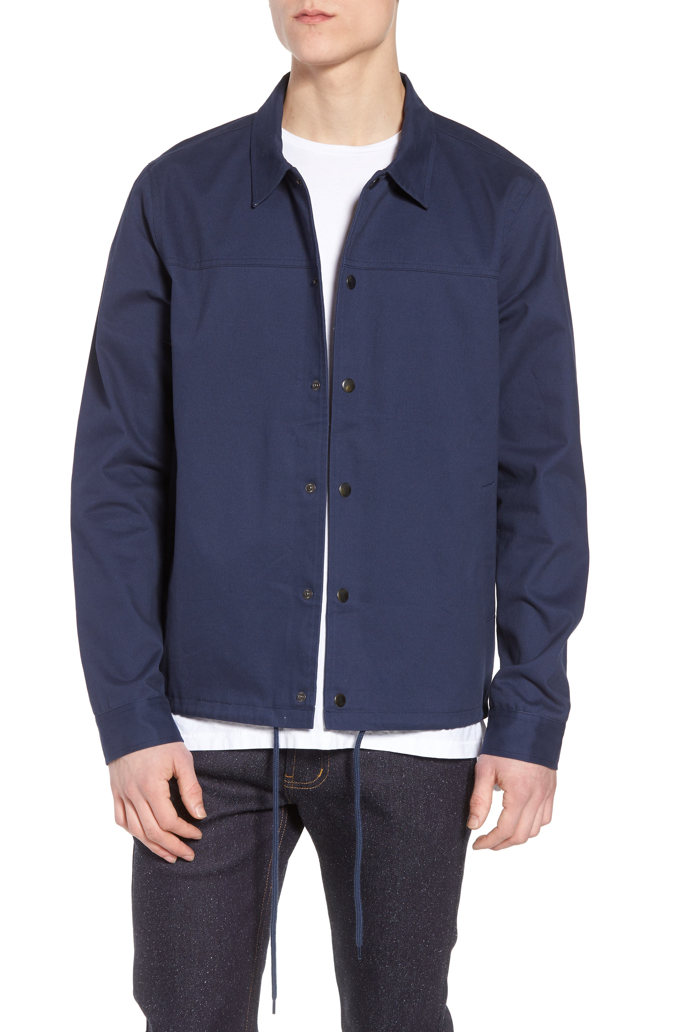 Snap Front Coach's Jacket,                         Main,                         color, Navy Iris