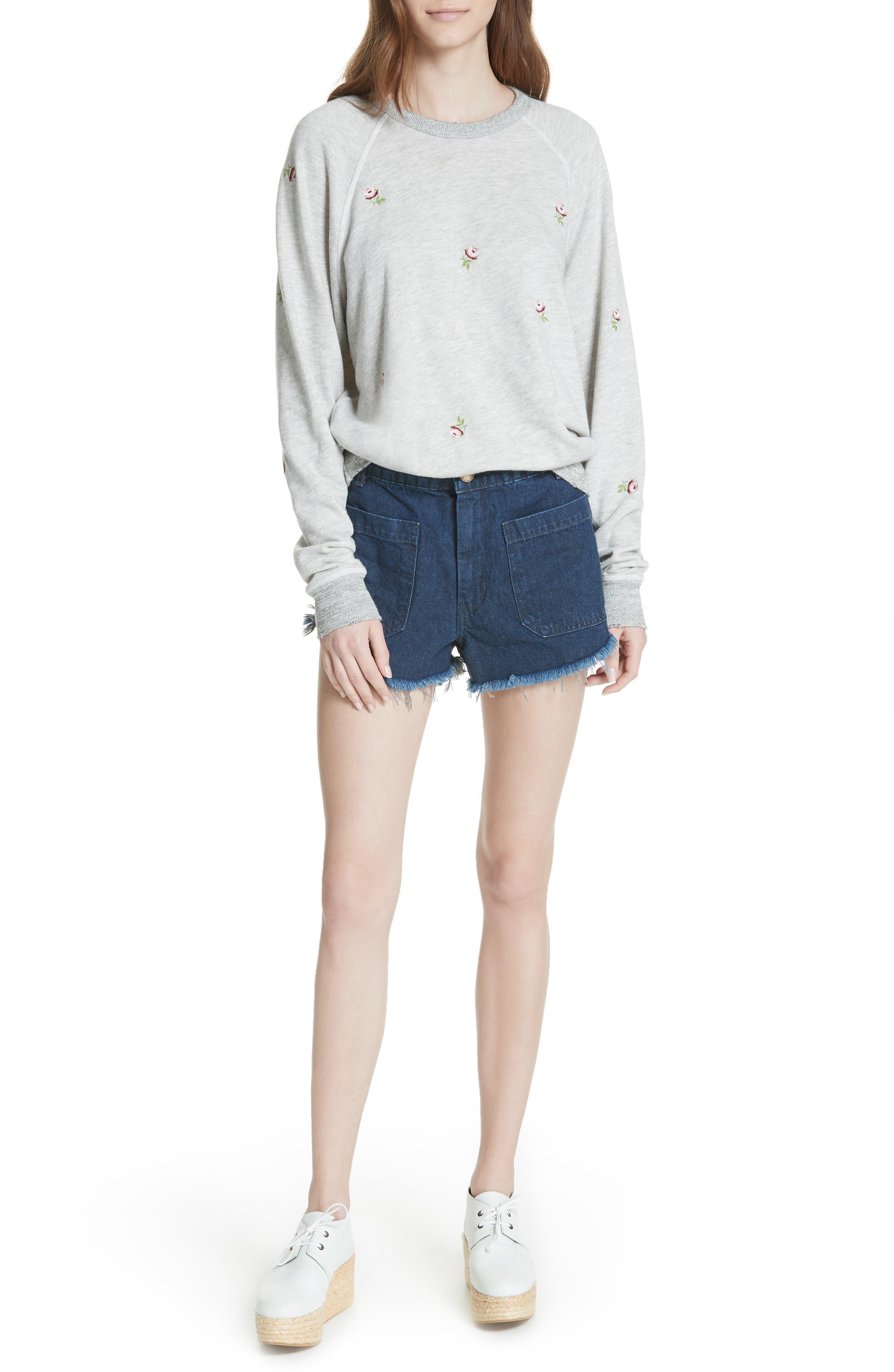 Sailor Denim Shorts,                             Alternate thumbnail 7, color,                             Ultra Marine Wash