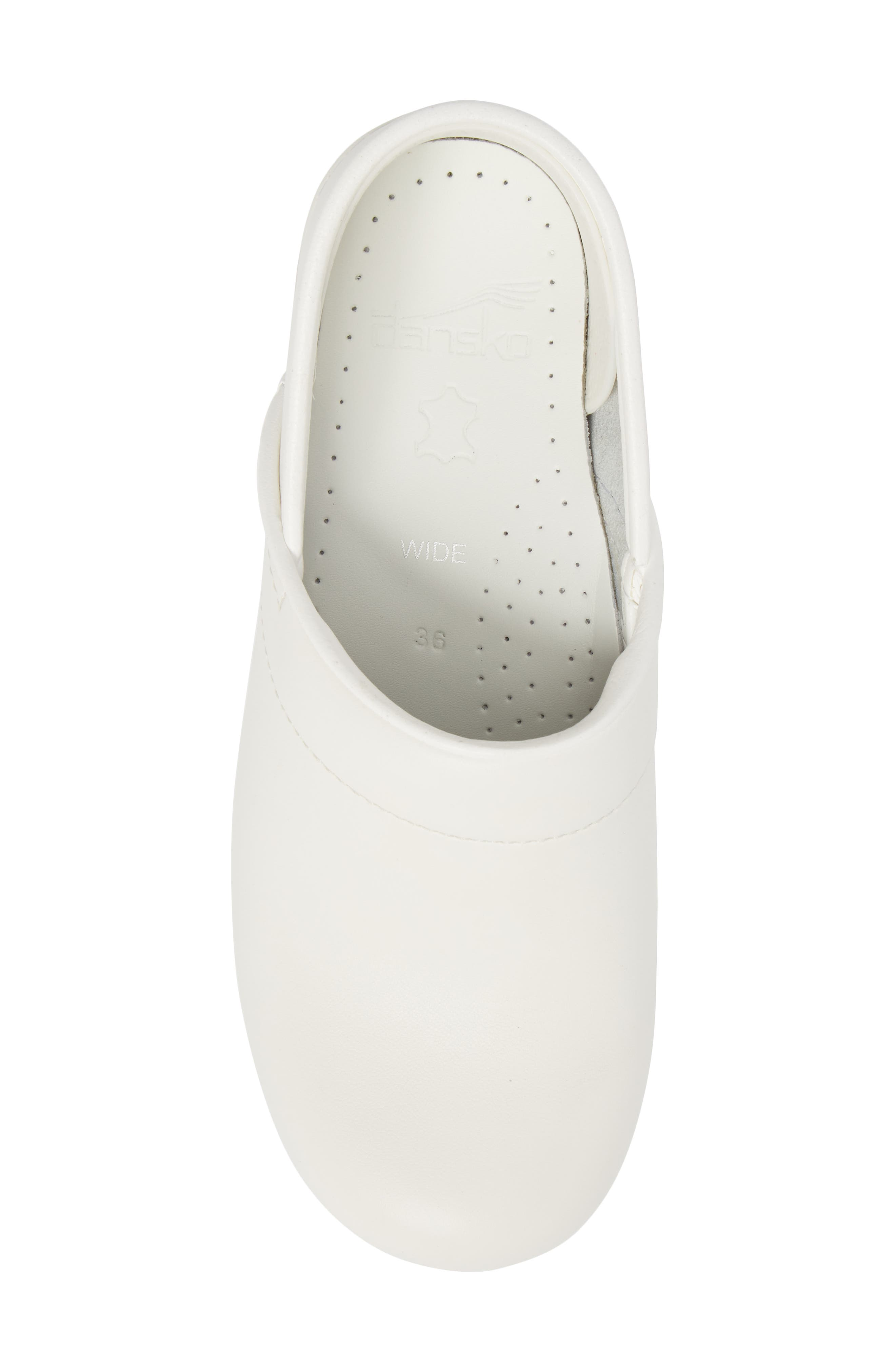 Wide Pro Clog,                             Alternate thumbnail 5, color,                             White Leather