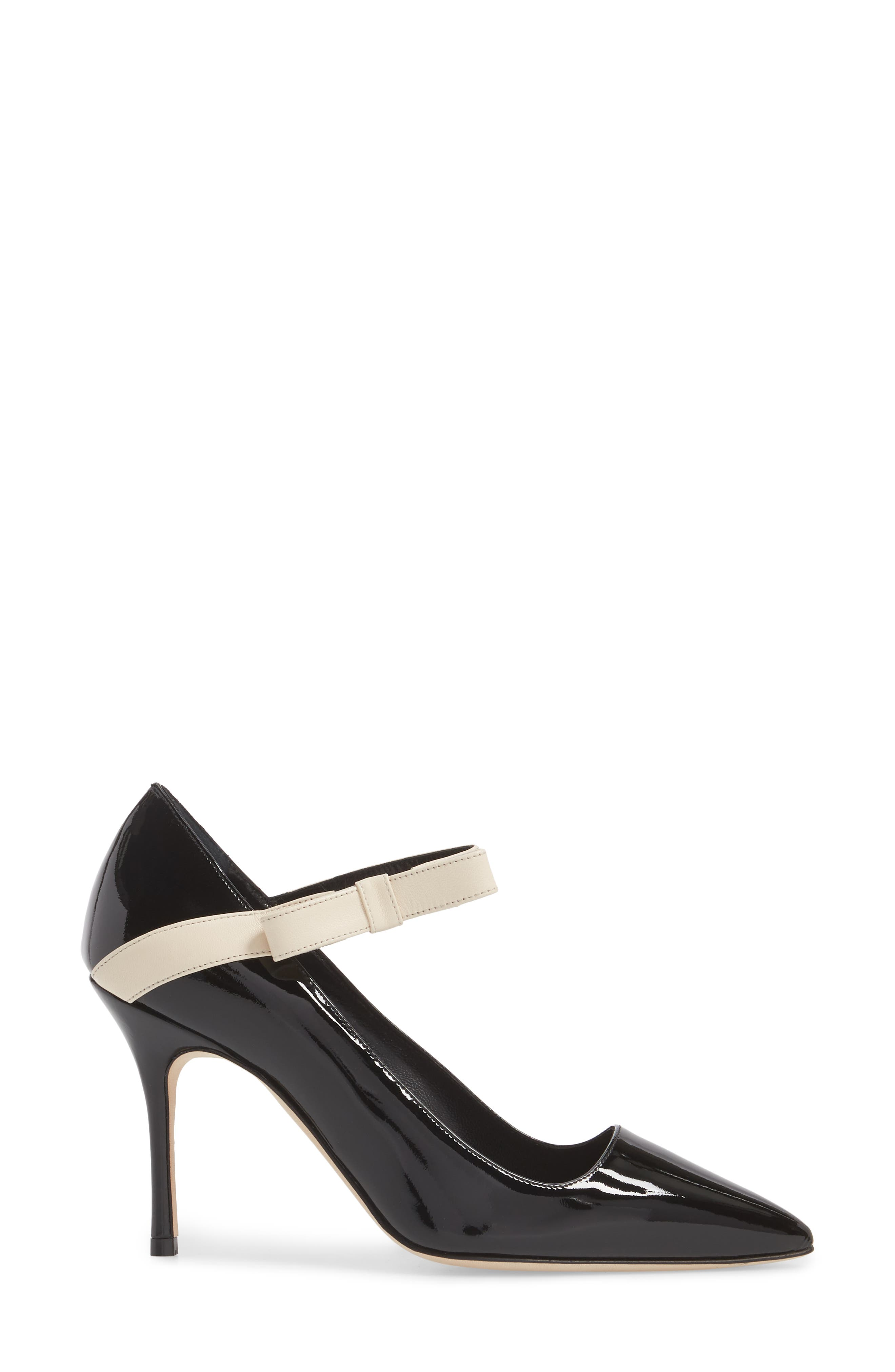 Immaculada Bow Pointy Toe Pump,                             Alternate thumbnail 3, color,                             Black/ White