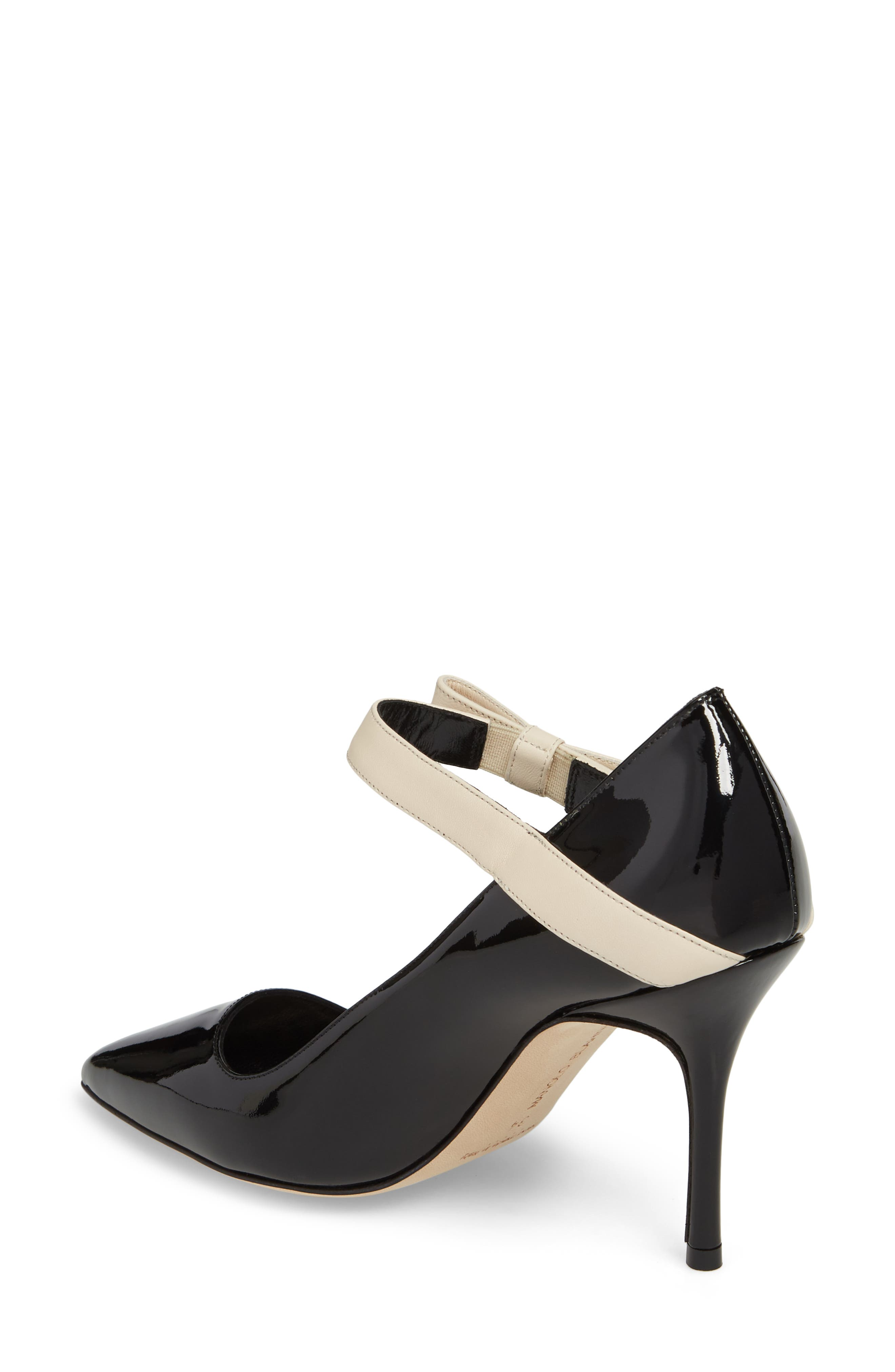 Immaculada Bow Pointy Toe Pump,                             Alternate thumbnail 2, color,                             Black/ White