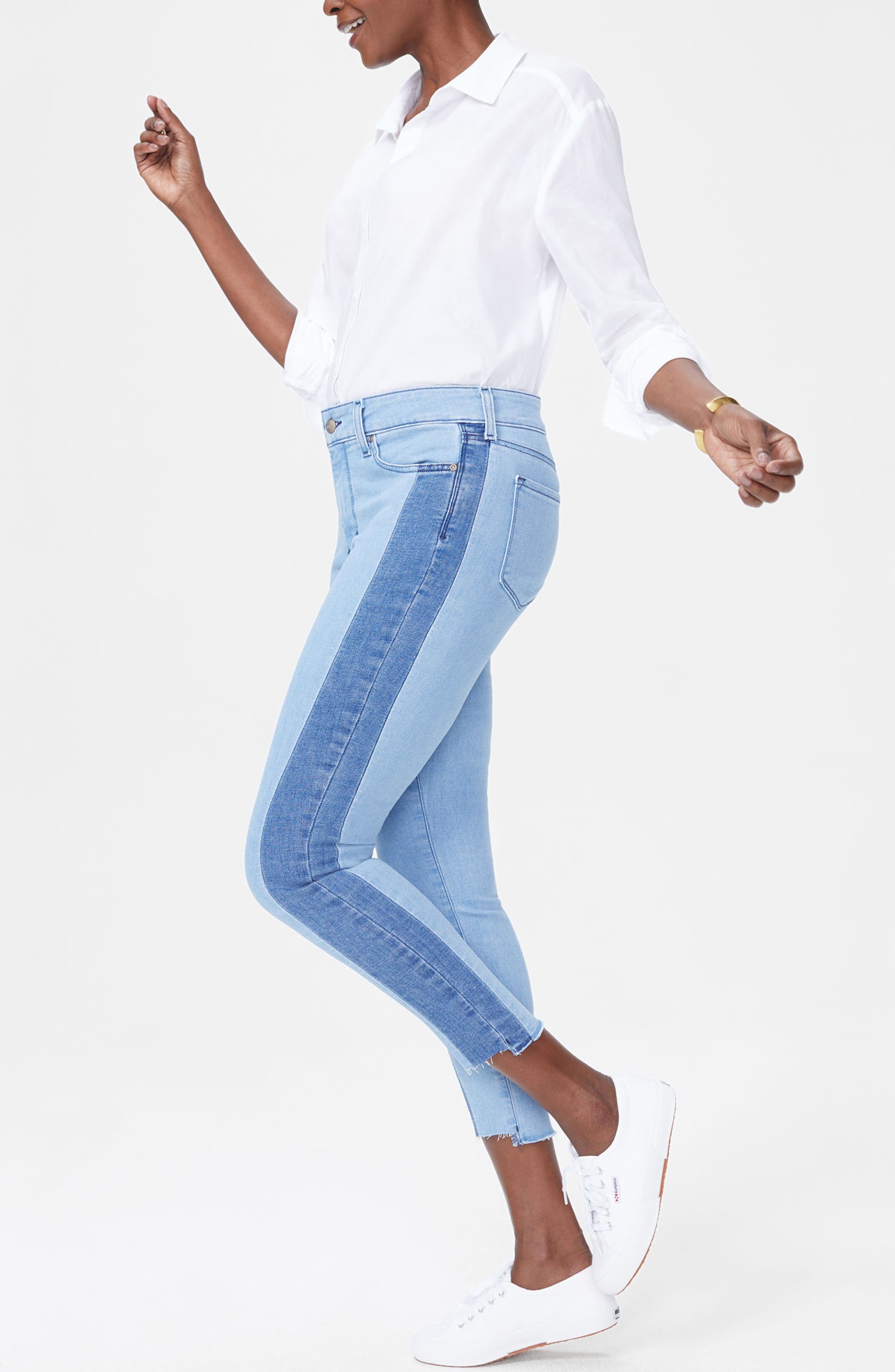 Ami Stretch Ankle Skinny Contrast Step Hem Jeans,                             Alternate thumbnail 2, color,                             Blissful