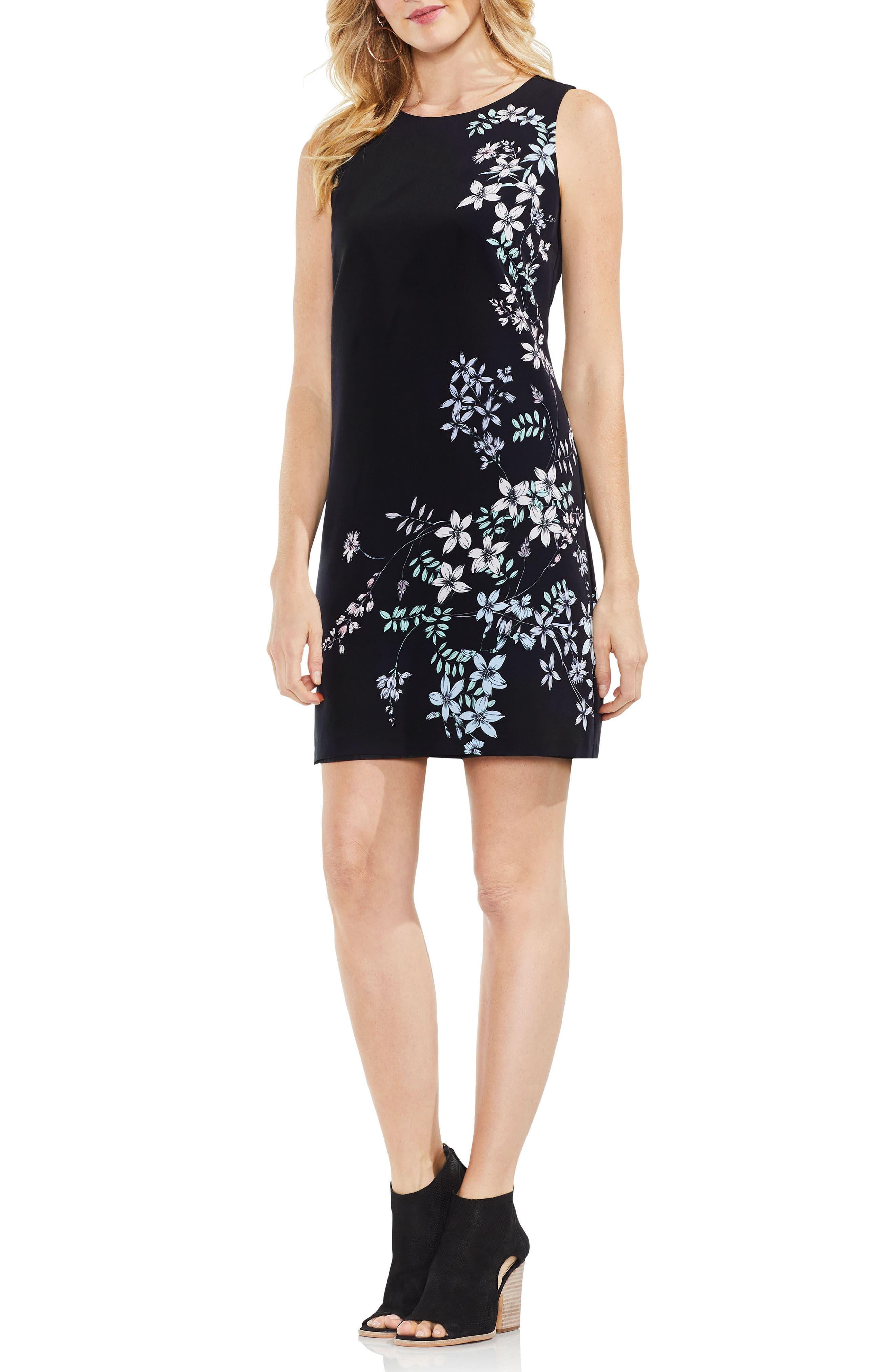 Floral Shift Dress,                             Alternate thumbnail 3, color,                             Rich Black