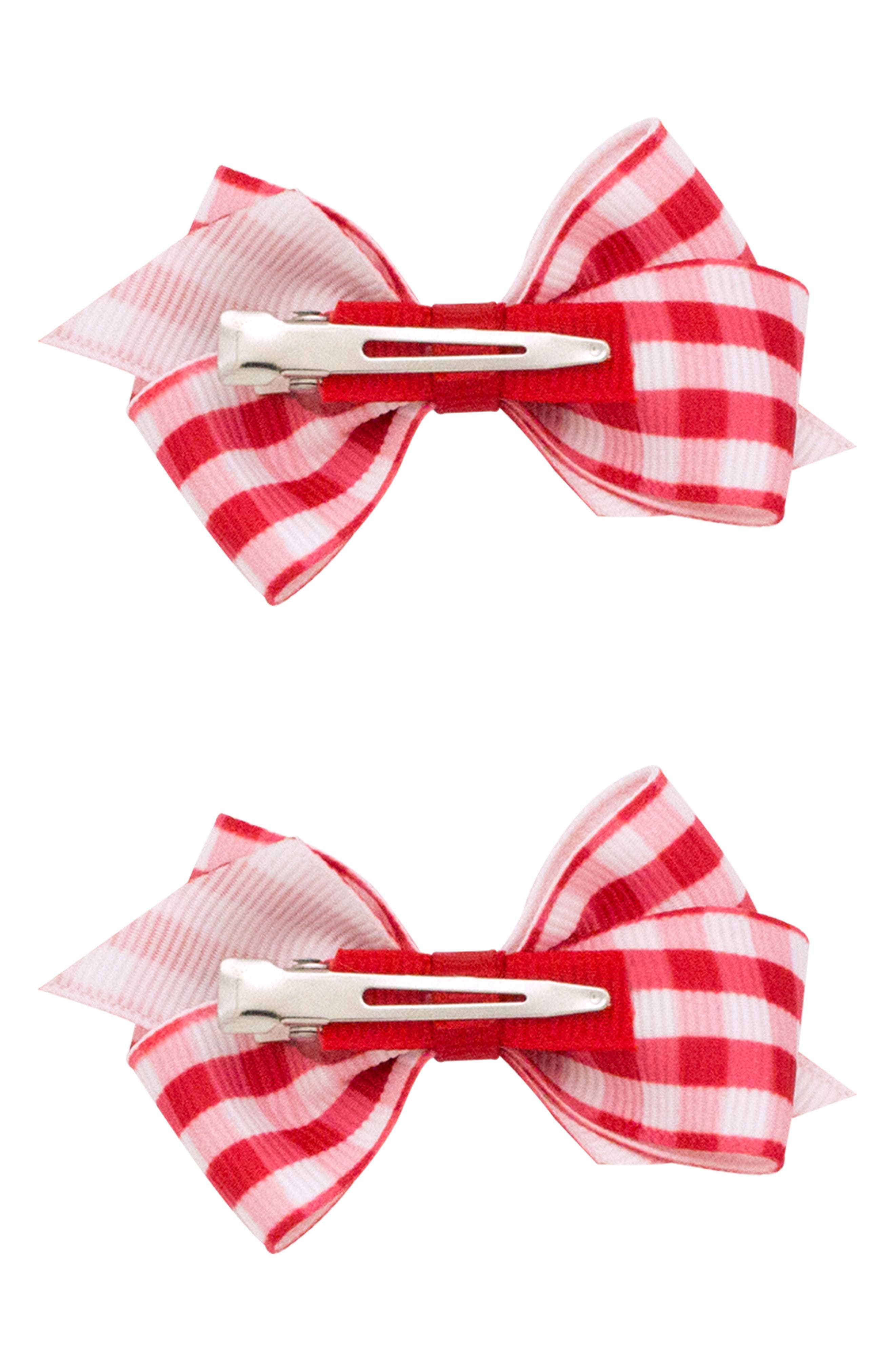 2-Pack Gingham Bow Clips,                             Alternate thumbnail 2, color,                             Red