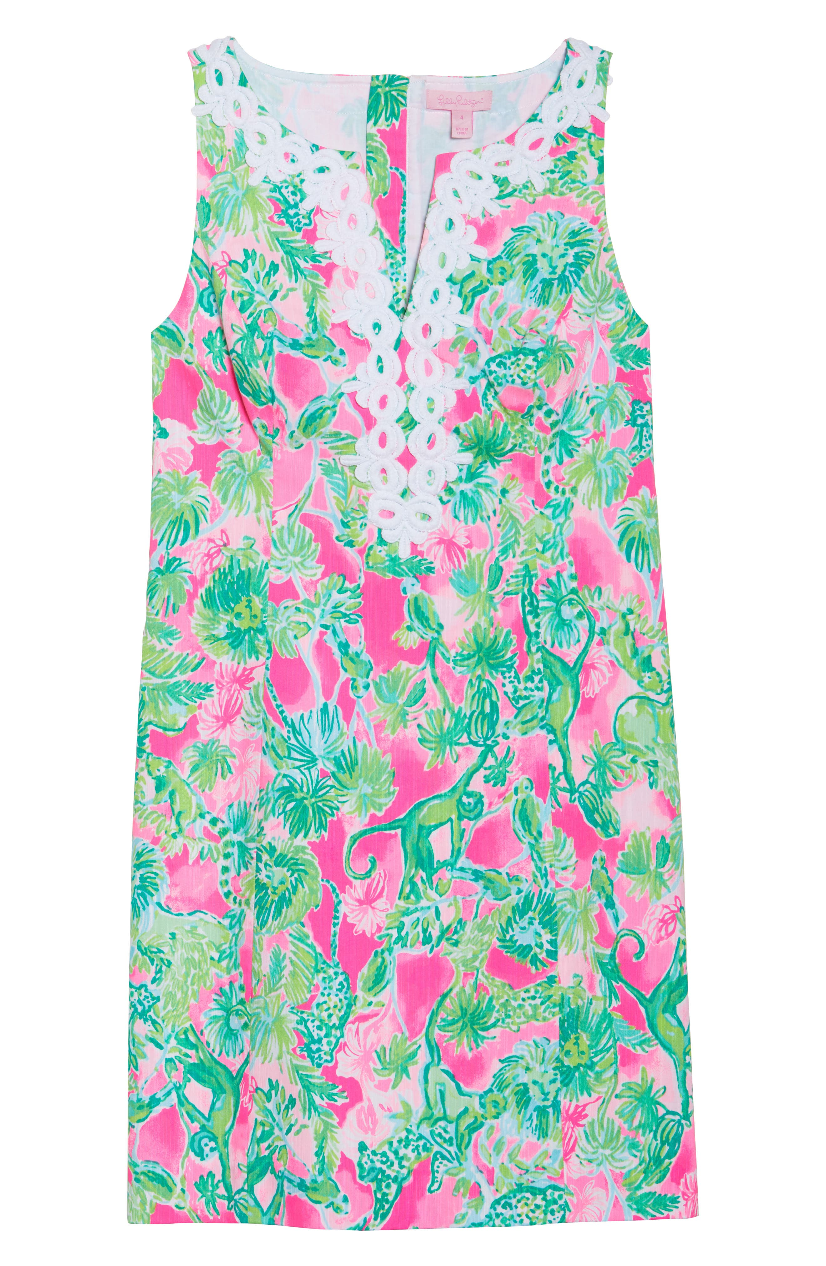 Gabby Tropical Print Dress,                             Alternate thumbnail 6, color,                             Raz Berry Catty Shack