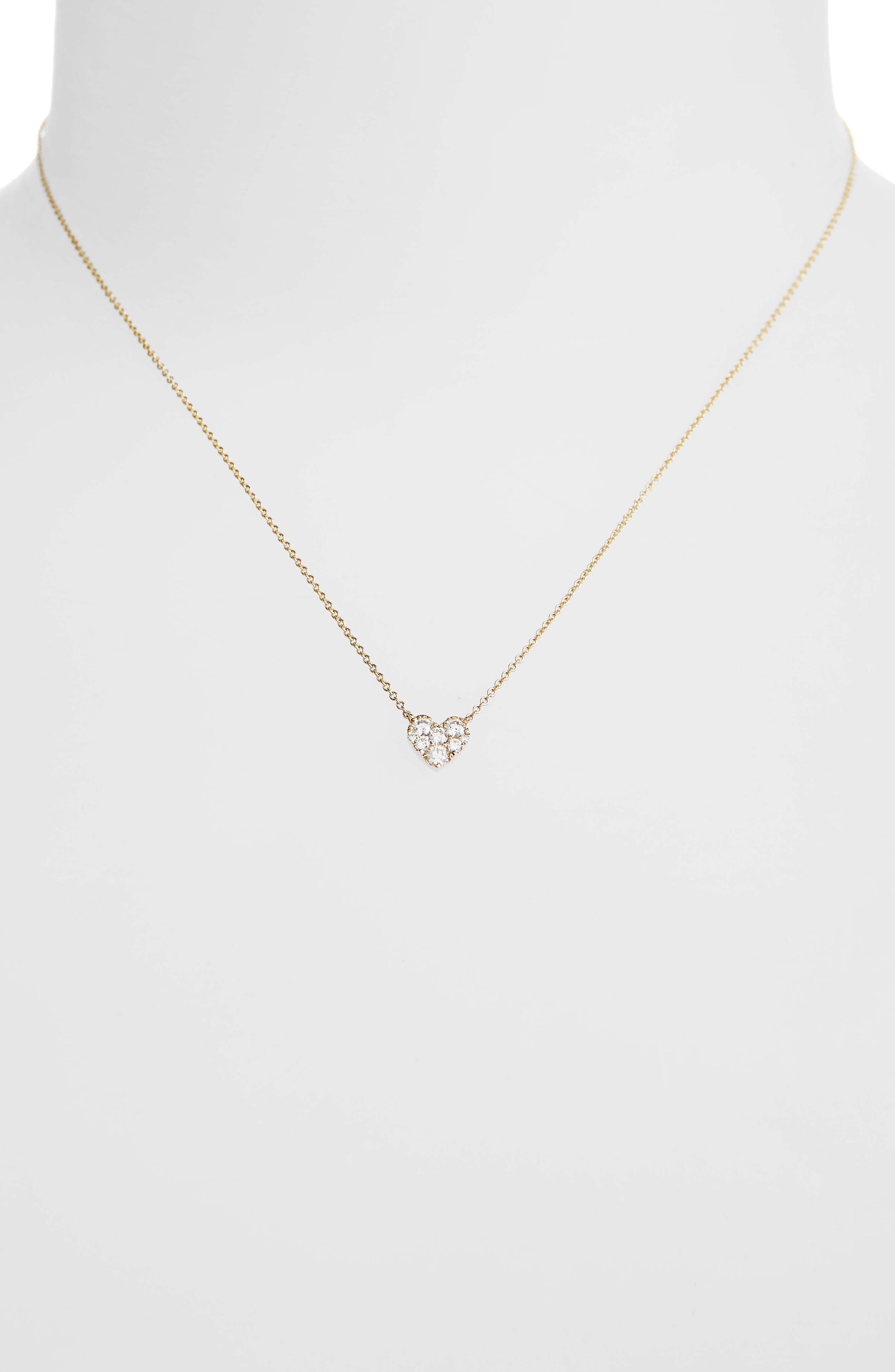 Heart Diamond Pendant Necklace,                             Alternate thumbnail 2, color,                             Yellow Gold