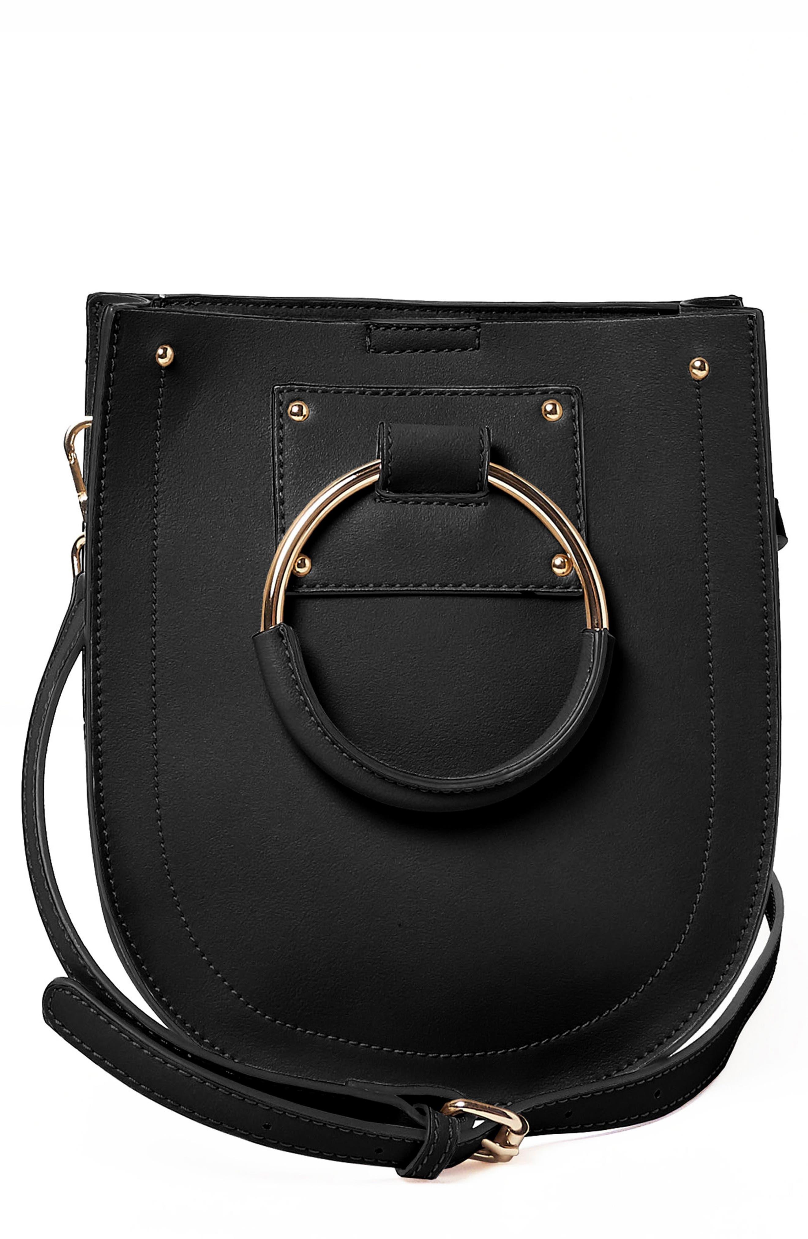 Scandi Vegan Leather Crossbody Bag,                             Main thumbnail 1, color,                             Black
