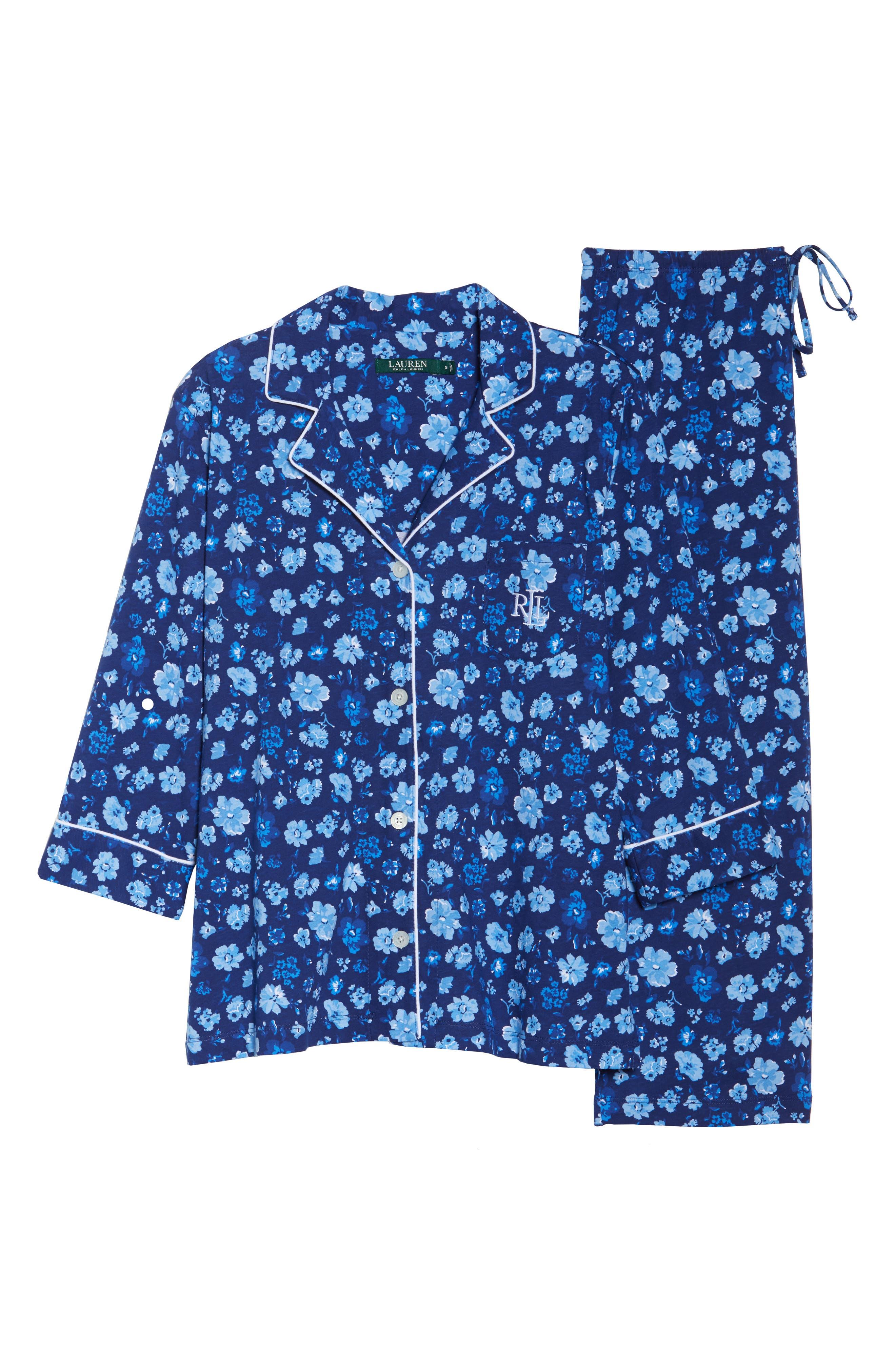 Cropped Pajamas,                             Alternate thumbnail 4, color,                             Blue Floral
