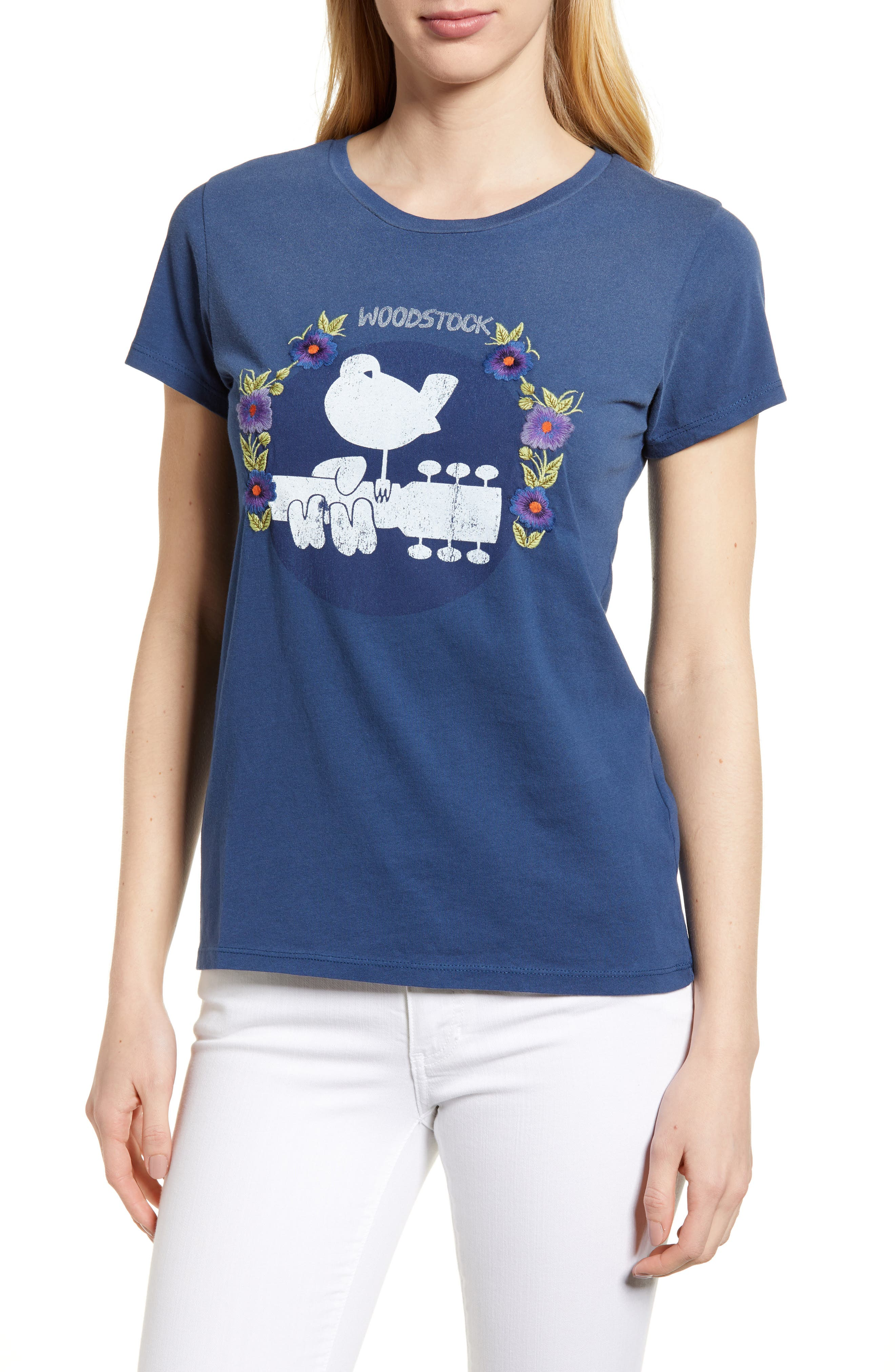 Embroidered Woodstock Tee,                         Main,                         color, Indigo