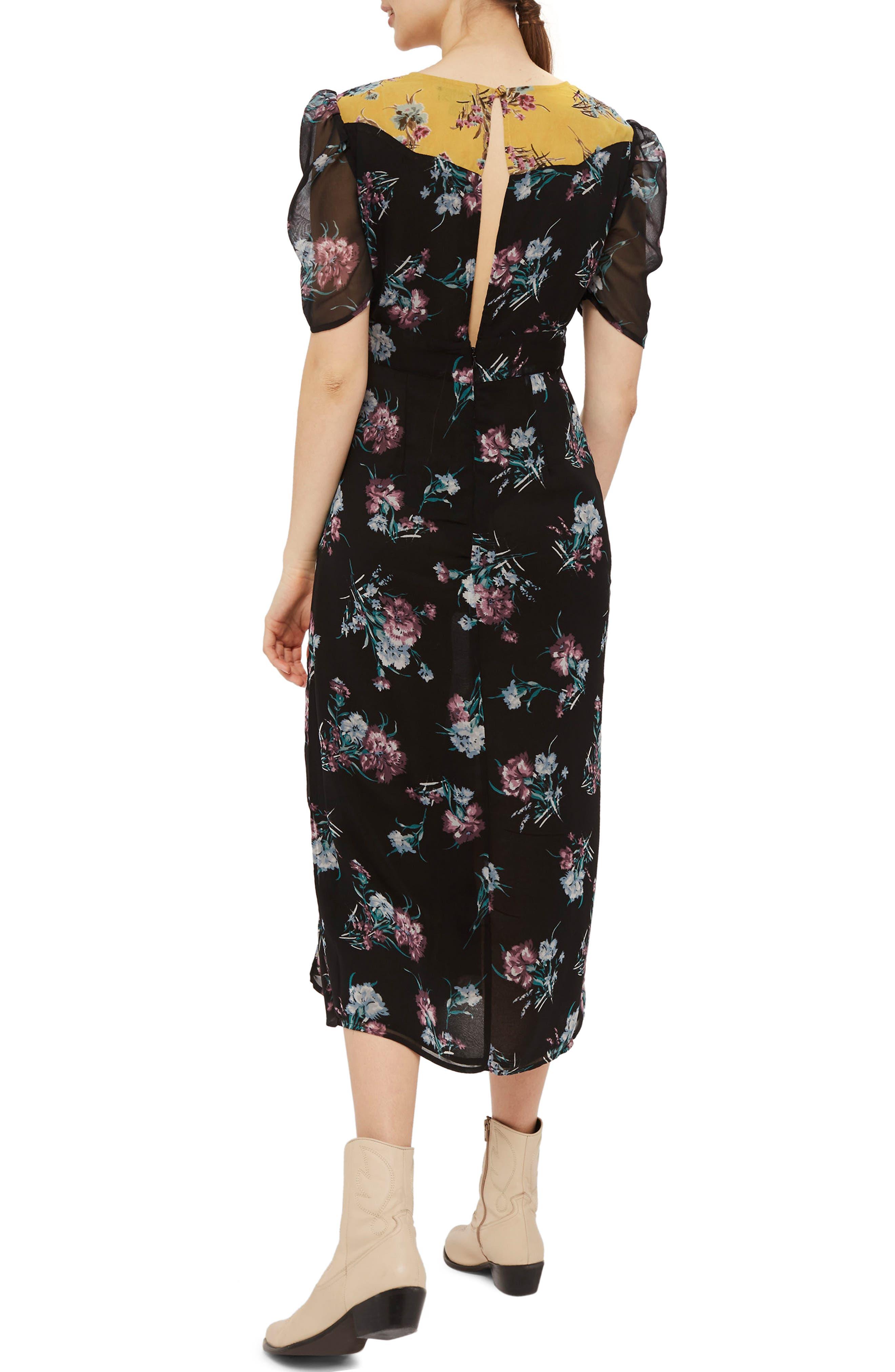 Rodeo Western Midi Dress,                             Alternate thumbnail 2, color,                             Black Multi
