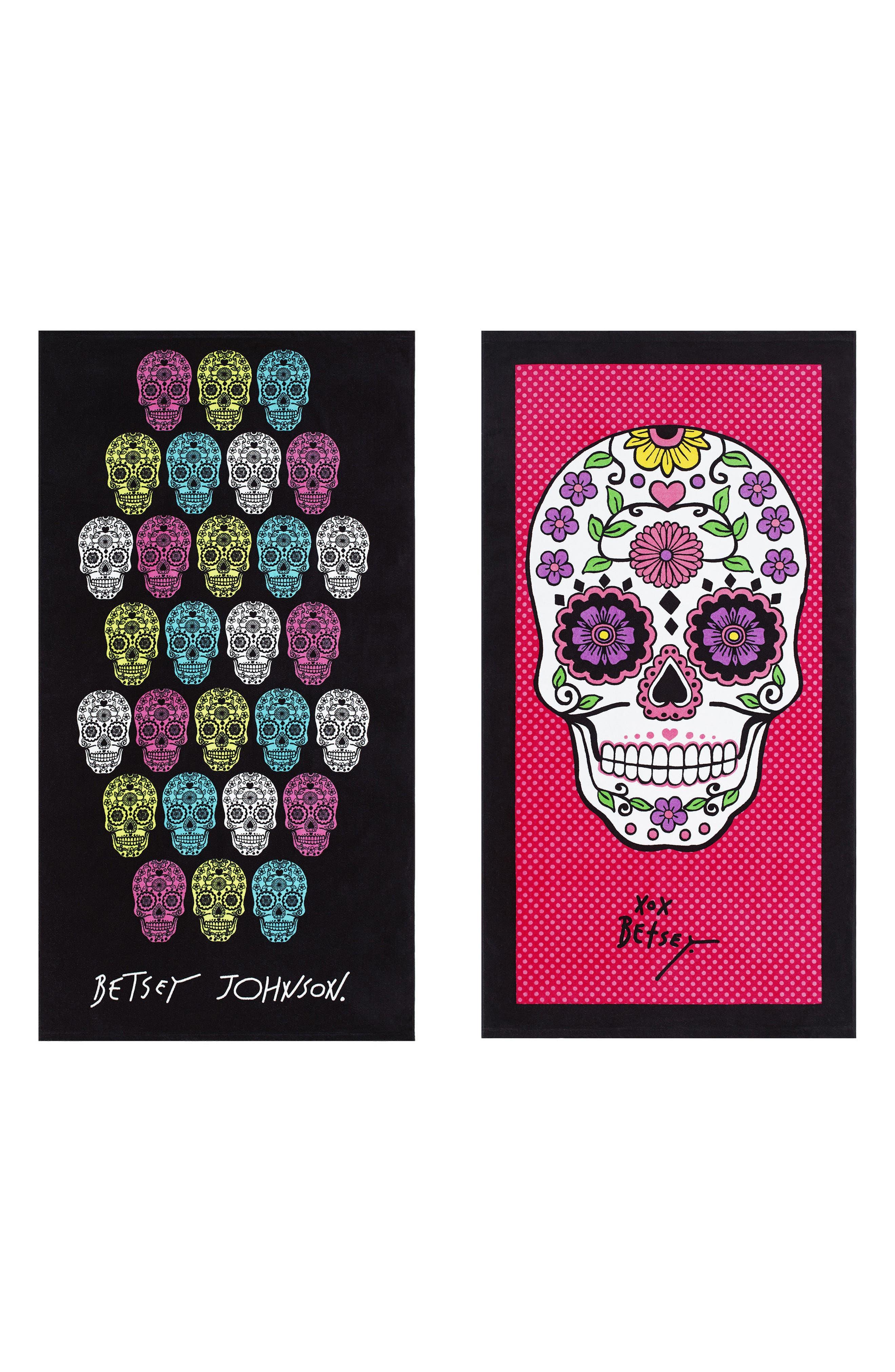 Fiesta Garden/Skull Set of 2 Beach Towels,                             Main thumbnail 1, color,                             Pink Multi