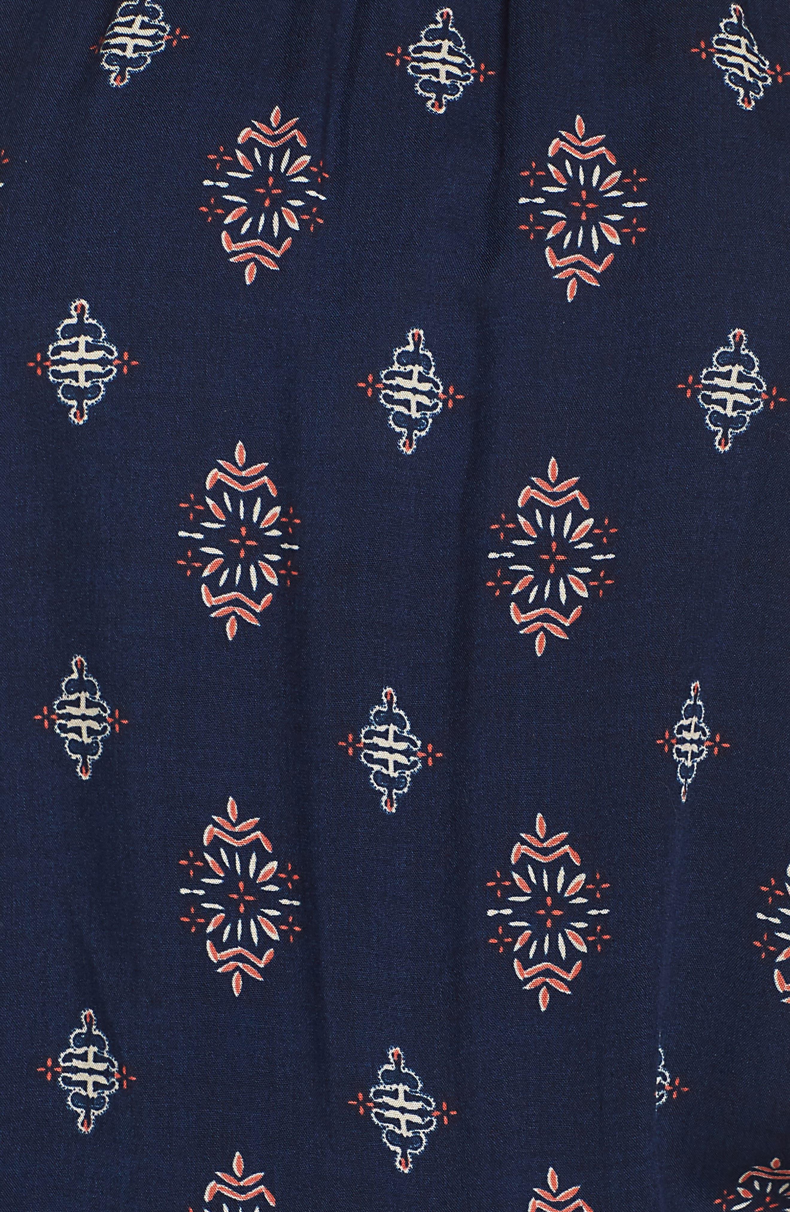 Off the Shoulder Cover-Up Romper,                             Alternate thumbnail 5, color,                             Navy Ornate